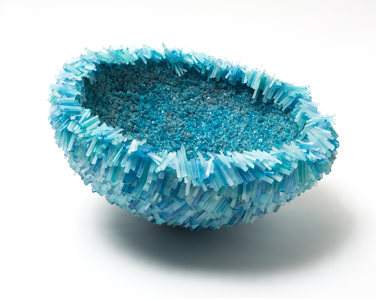 Laura Kramer Copper Blue Sea Urchin Bowl. Photo courtesy Heller Gallery
