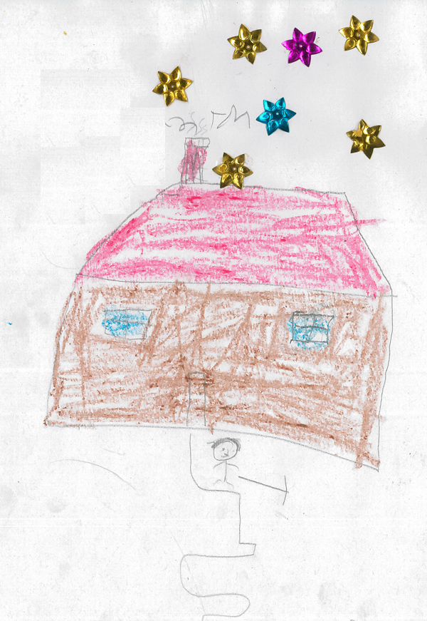 Home after home is draw, scratched, stuck down on reams of paper. A popular subject for any young child but during a session in the CFS we have seenchildren constructinghomes which think about their escape routes.