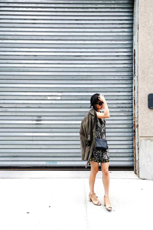 Topshop Dress ,  Mason by Michelle Mason Jacket  ( Similar ,  SImilar ),  Givenchy Sandals  ( Black ,  White ), Céline Bag ( Similar ,  Similar ) and  Sunglasses