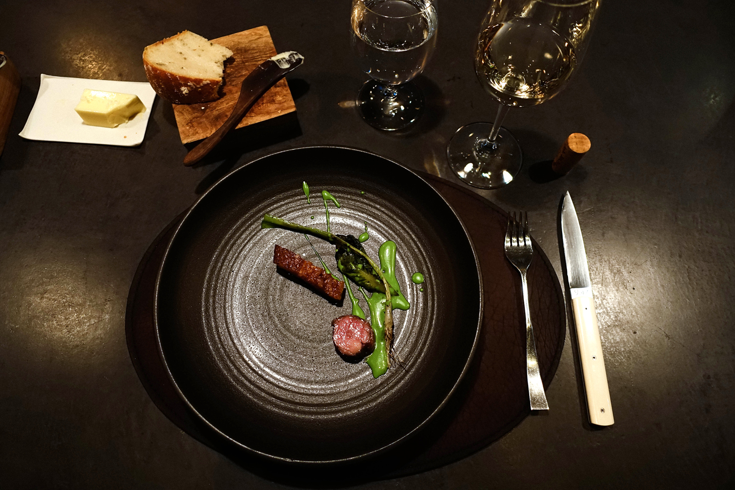 Roasted duck with green tea and Sucrine with cucurbita moschata