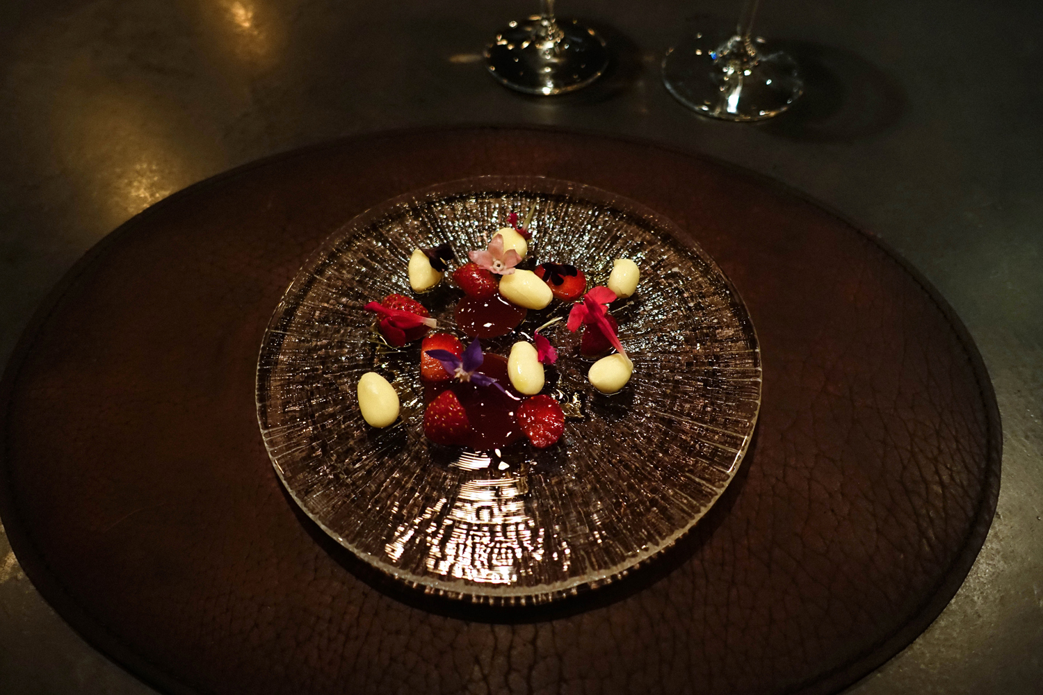 Almond with strawberries, hibiscus