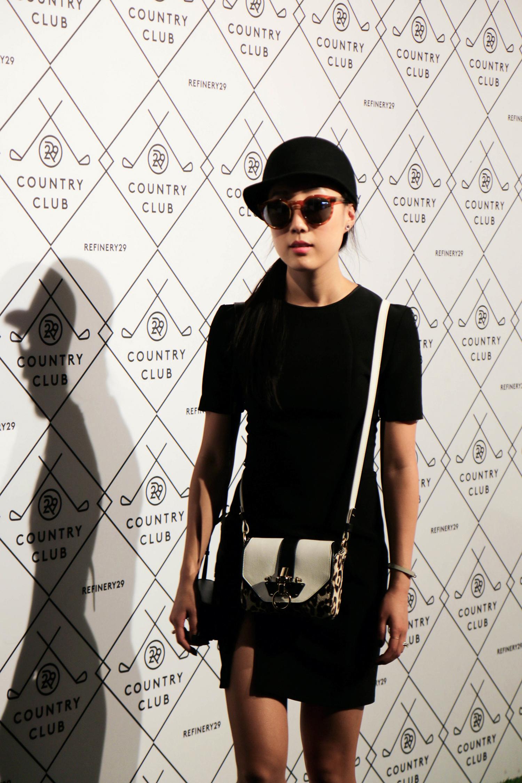 T by Alexander Wang Dress ( Similar ,  Similar ), Givenchy Bag ( Similar ),  Illesteva Sunglasses , Vintage Hat, Hermes Bracelet ( Black ,  White ),  Cooee Earrings