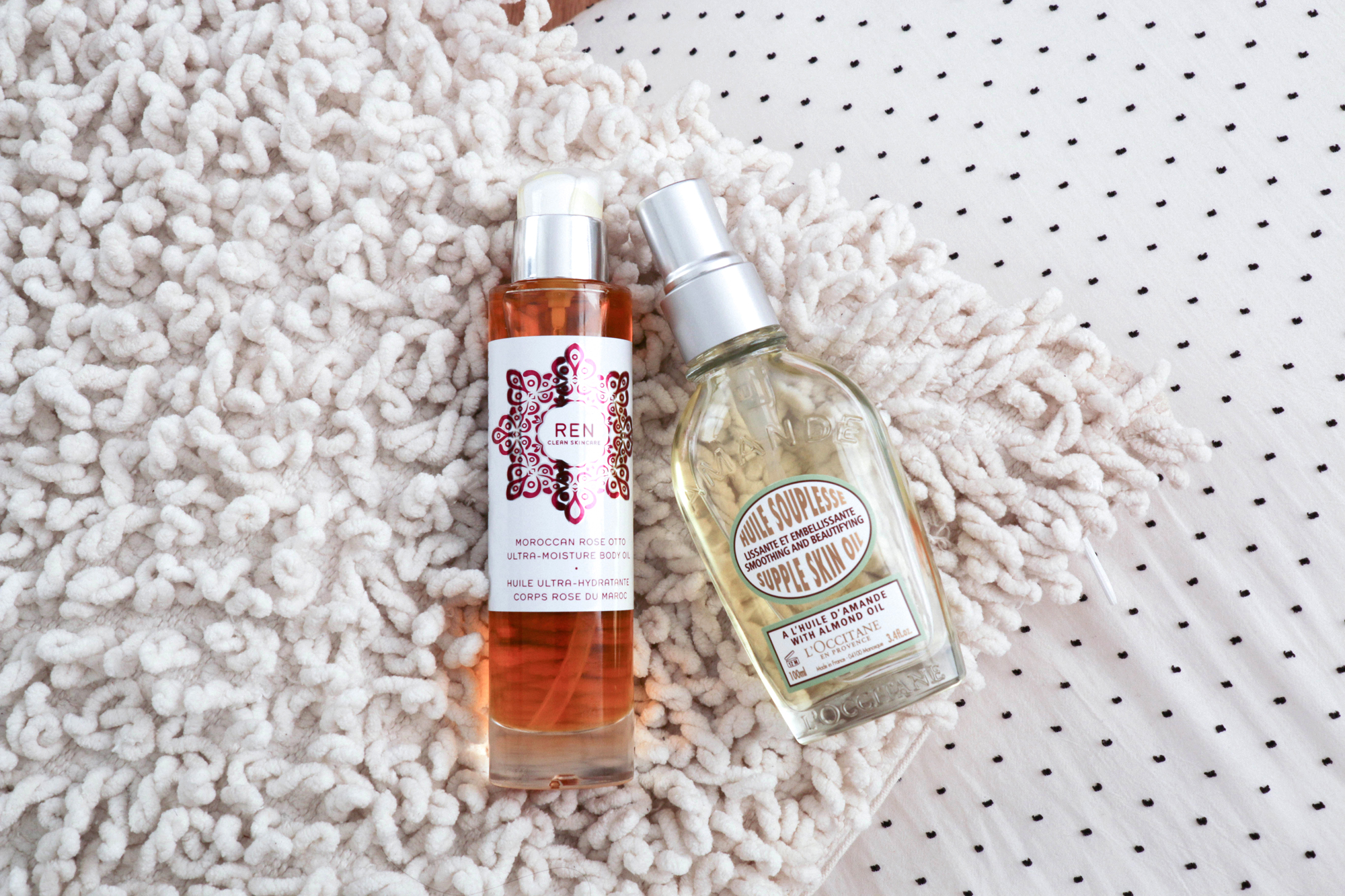 Ren Moroccan Rose Body Oil ,  L'Occitane Supple Skin Oil