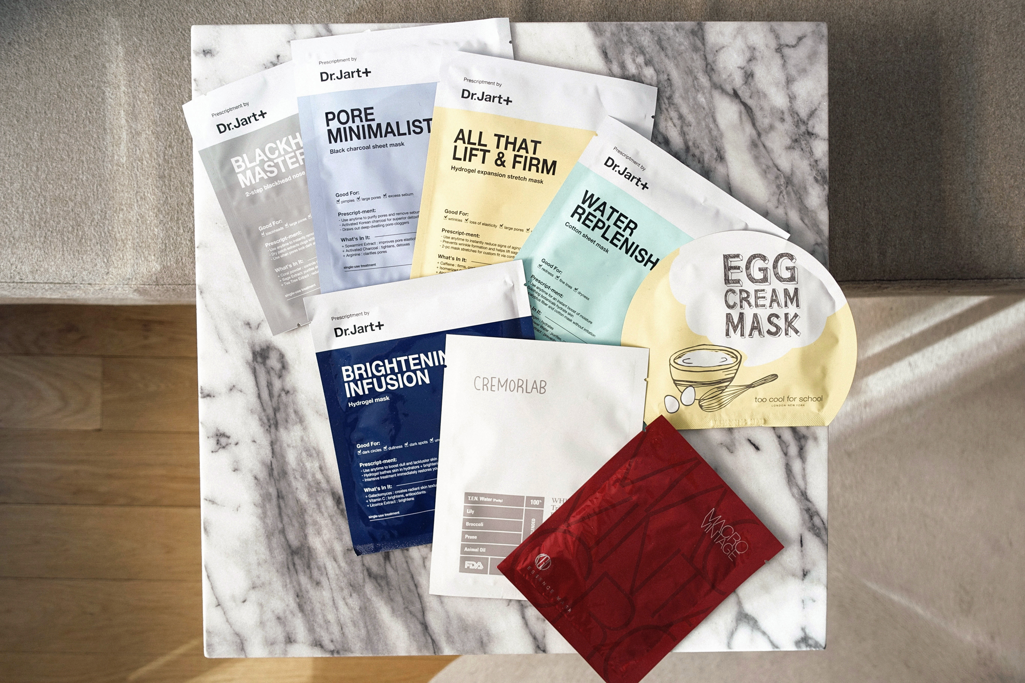 Dr. Jart Masks ,  Cremorlab Floral Mask ,  Too Cool For School Egg Mask ,  Koh Gen Do Essence Mask