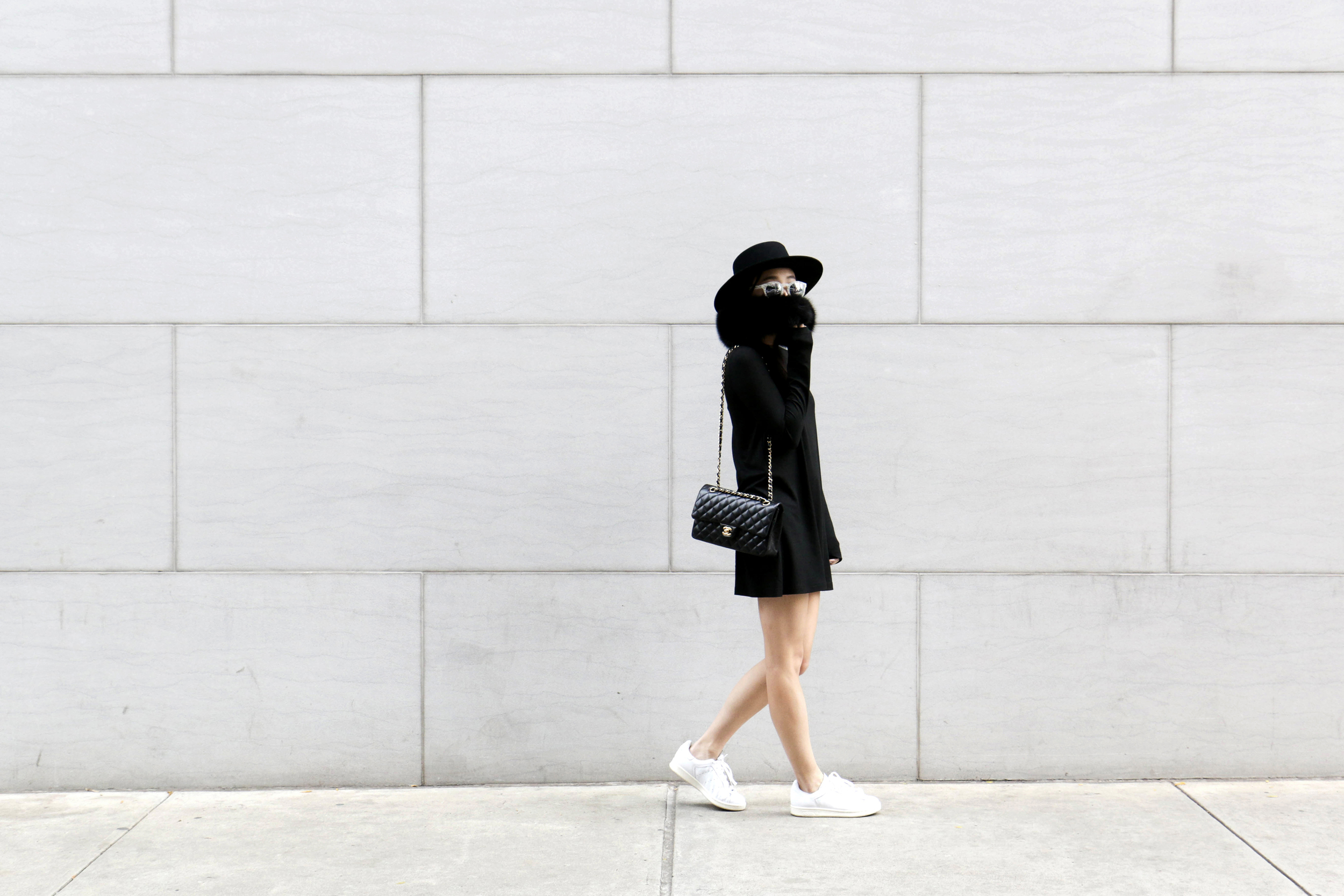 Marie Hell Emerge Tunic Dress ,  Adidas Sneakers , Chanel Bag,  Illesteva Sunglasses ,  Janessa Leone Hat , Vintage Fur Scarf