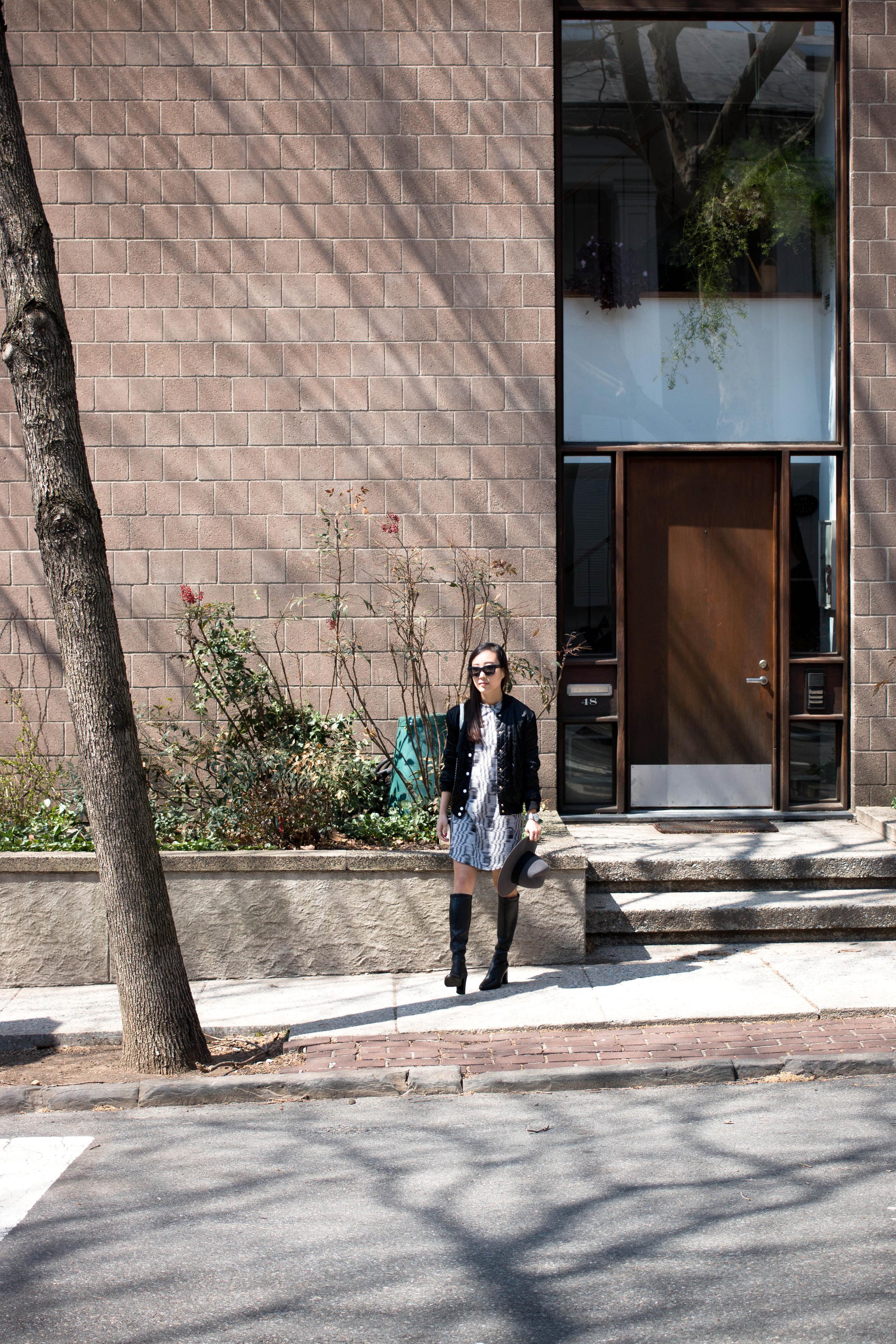 Maison Kitsune Jacket,  Public School Dress , Balenciaga Boots, Saint Laurent Hat, Chanel Bag, Acne Studios Sunglasses,  Larsson & Jennings Watch