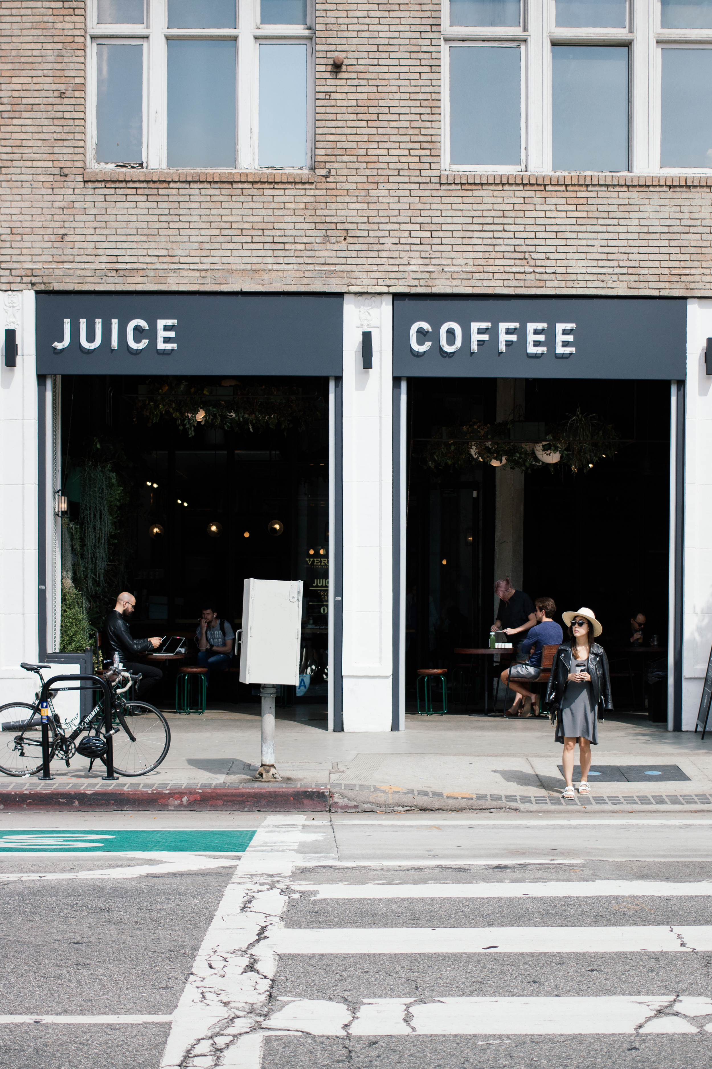 Juice, coffee, and pastries at  Verve Coffee Roasters