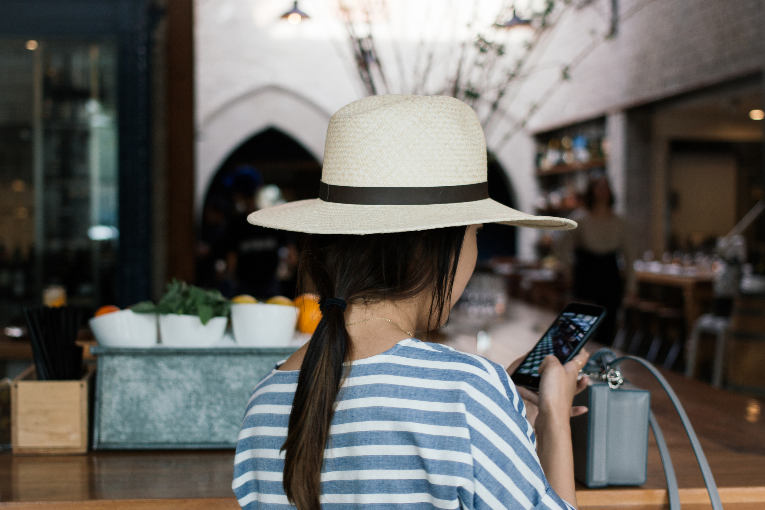 ATM Dress , Mark Cross Bag ( Black ),  Janessa Leone Hat