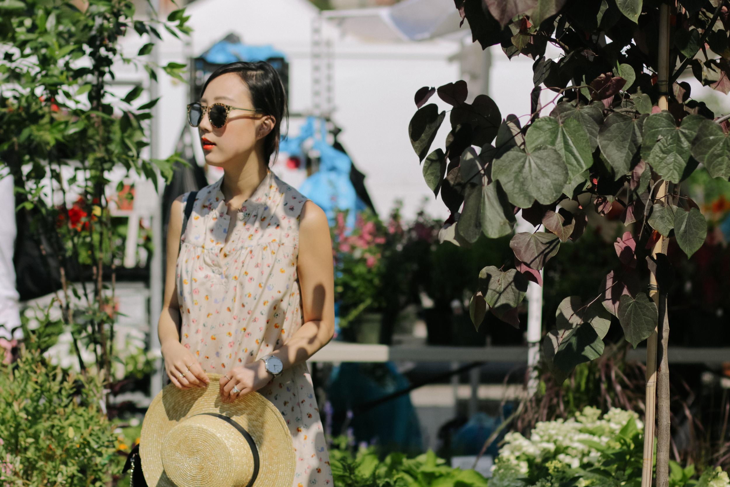 Xperio UV™ polarized sun lenses ,  Illesteva Frames , Girl. Band of Outsiders Dress,  Janessa Leone Hat ,  Larsson & Jennings Watch ,  Mirlo Jewelry ,  Chosungah 22   Lip Color