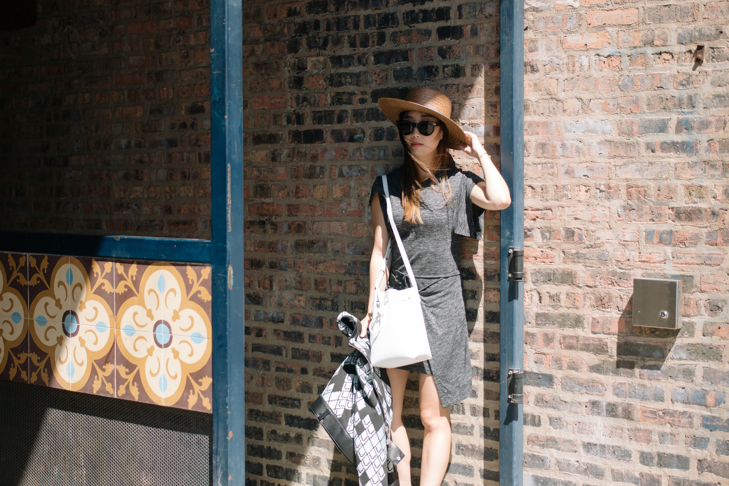 3.1 Phillip Lim Jacket,  Isabel Marant Etoile Dress ,  Mansur Gavriel Bag ,  Janessa Leone Hat ,  Stella McCartney Shoes , Céline Sunglasses