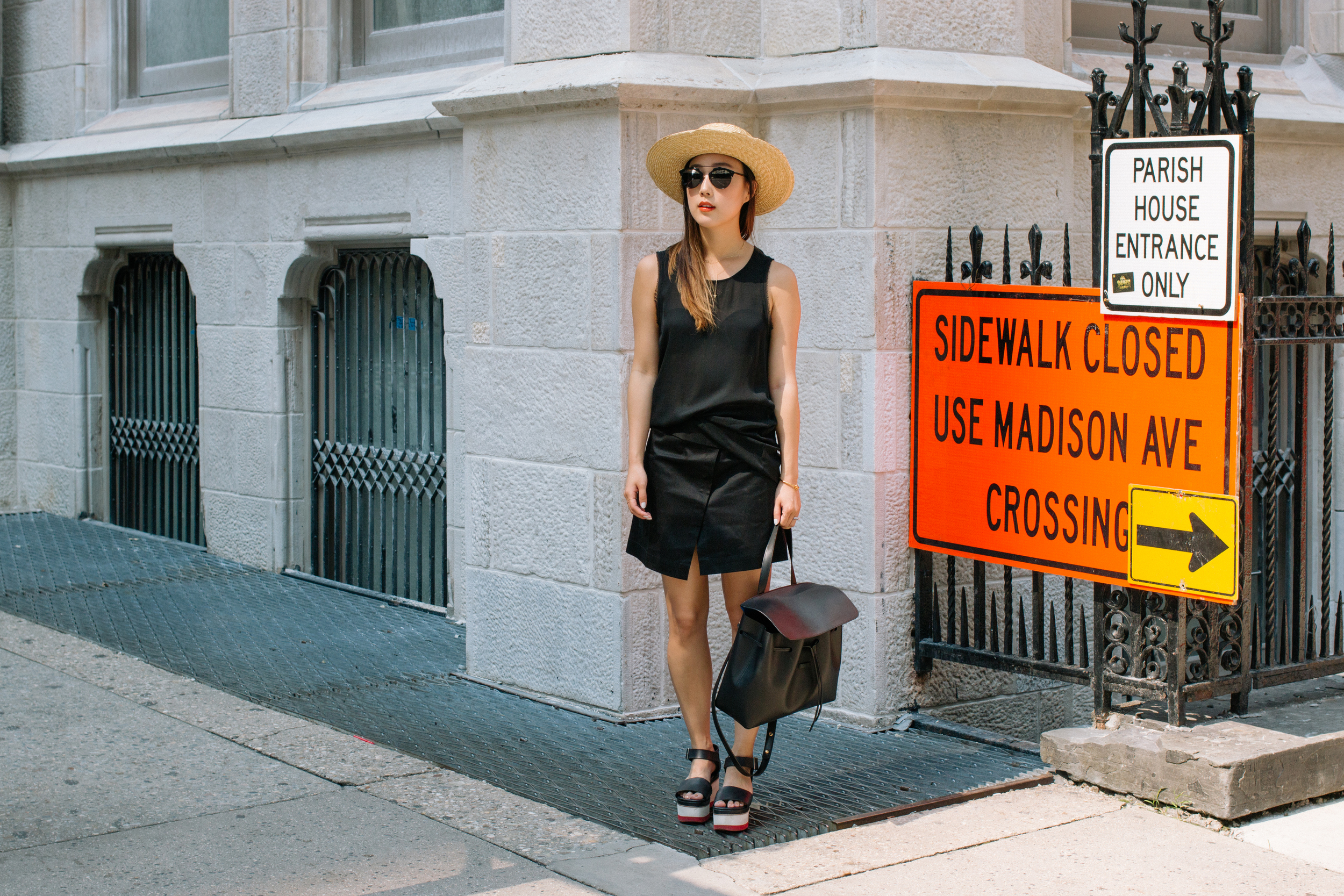 Helmut Lang Top,  Index Skirt ,  COS Shoes ,  Mansur Gavriel Bag ,  Janessa Leone Hat ,  Dior Sunglasses ,  Celine Bracelet ,  Gjenmi Jewelry