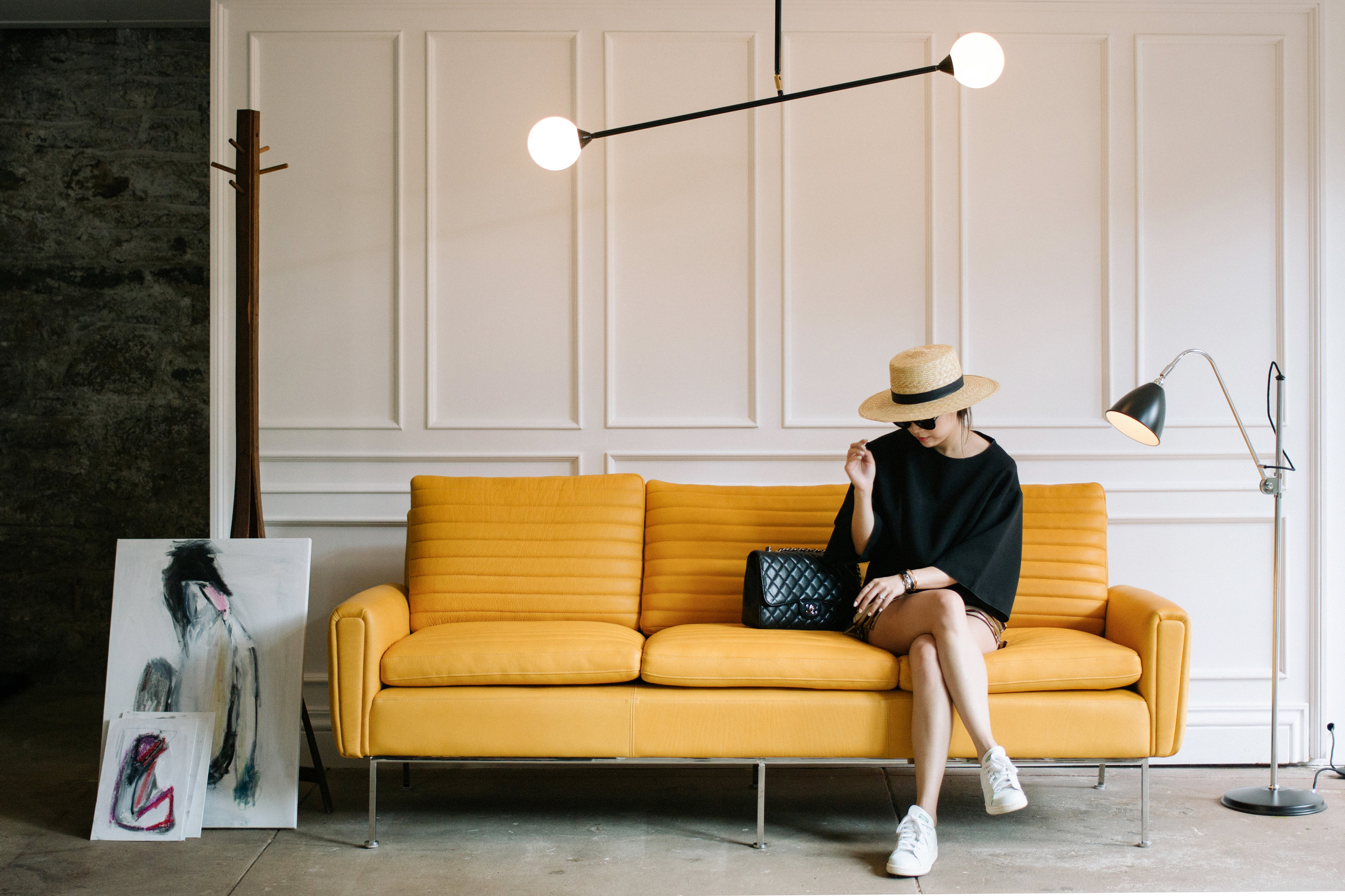 C/MEO Collective Top , Dries Van Noten Shorts, Janessa Leone Hat ( White ), Chanel Bag,  Adidas Originals Shoes , Hermes Bracelet