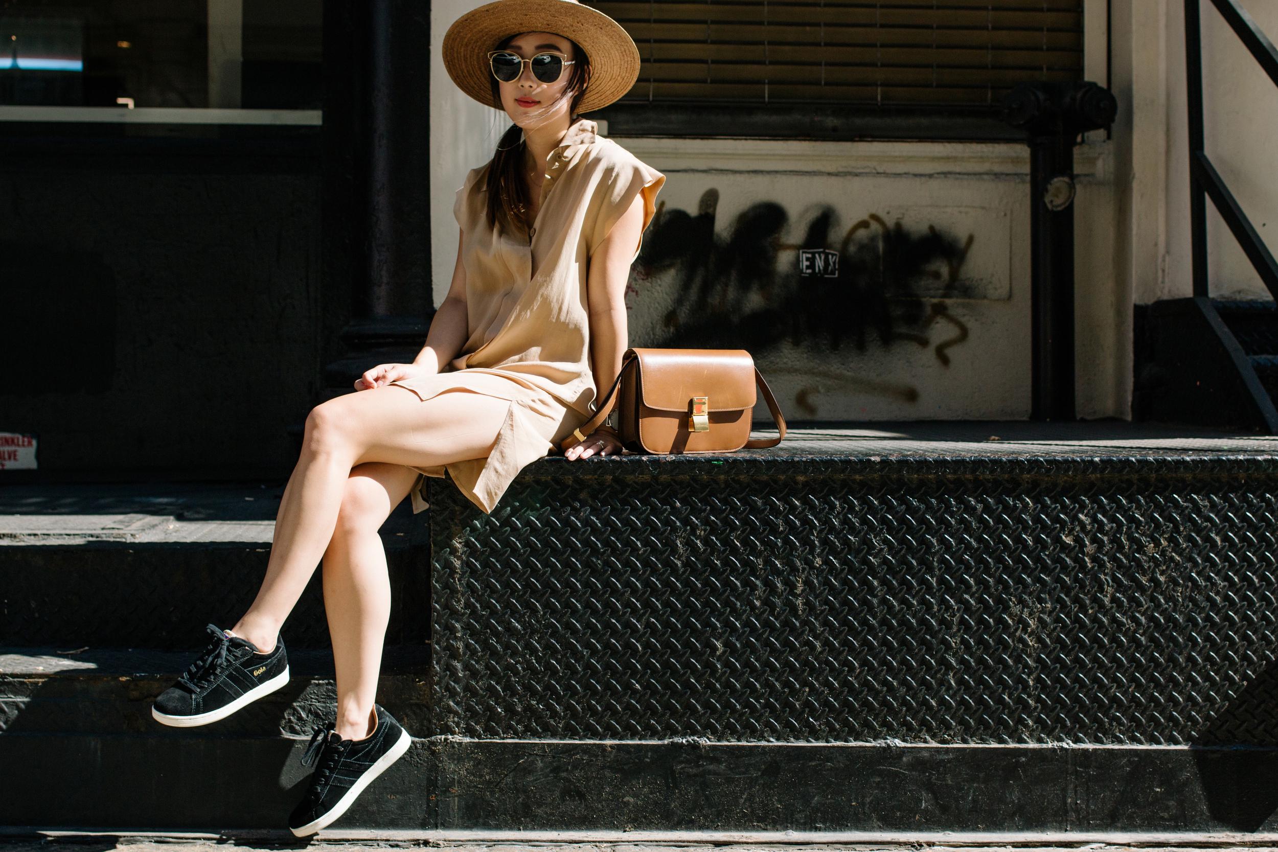 Again Collection Tunic , Céline Bag,  Gola Shoes ,  Janessa Leone Hat ,  Larsson & Jennings Watch