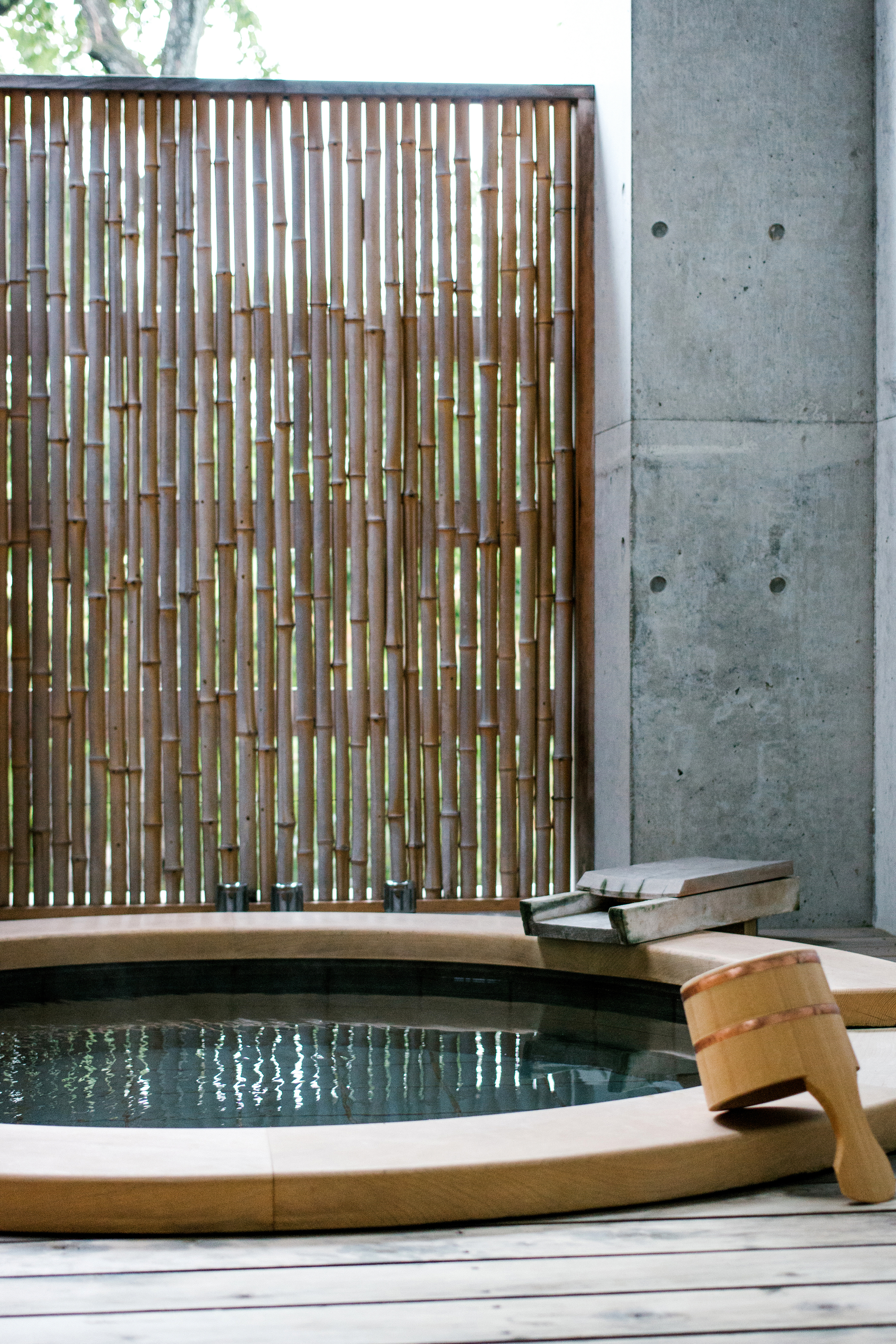 Morning dip in our private open-air onsen (hot spring bath)