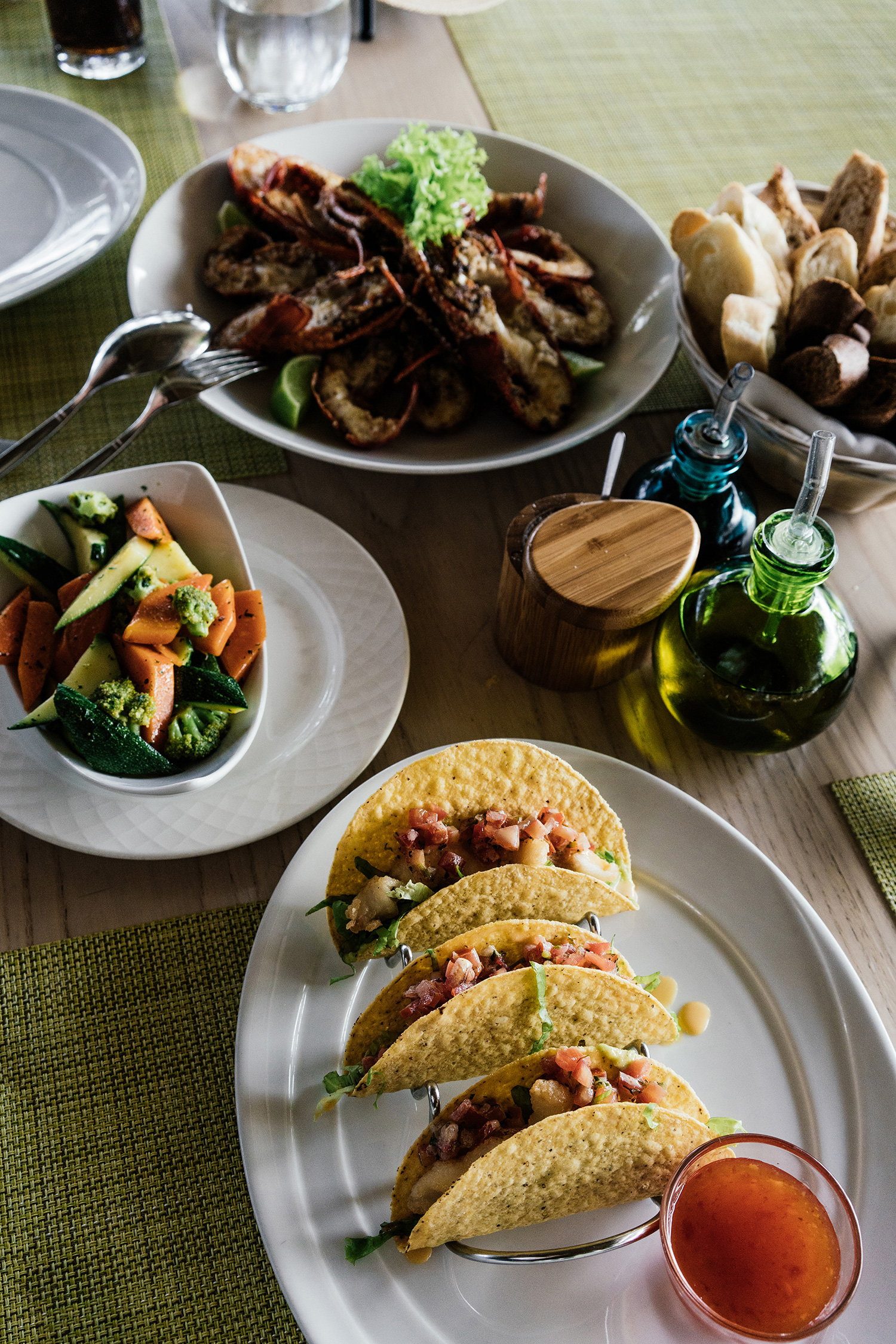 Lunch of mini lobsters and fish tacos at  La Palapa