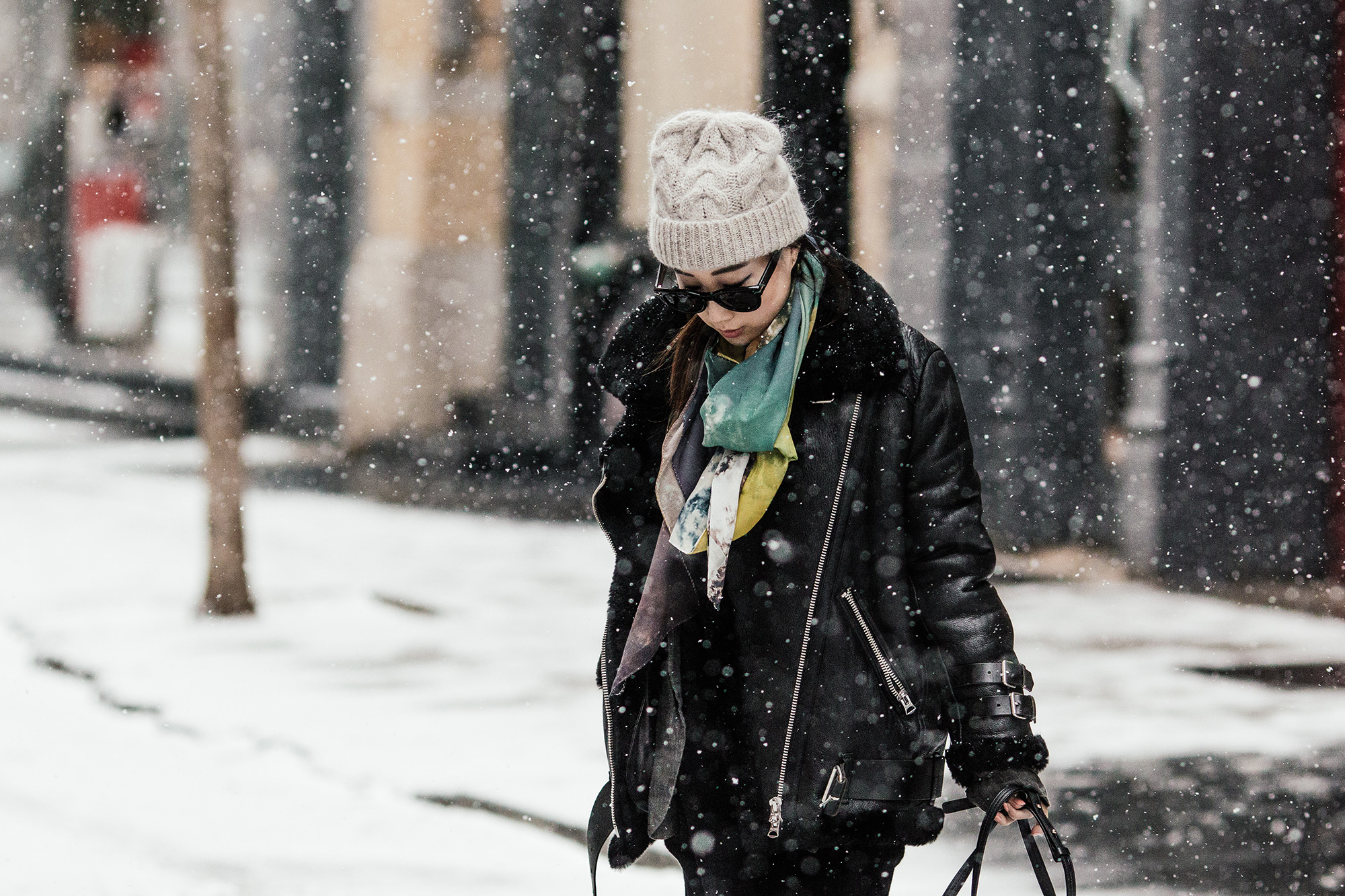 Acne Coat ,  Chloe Faye Bag ,  Slow Factory Scarf ,  COS Hat
