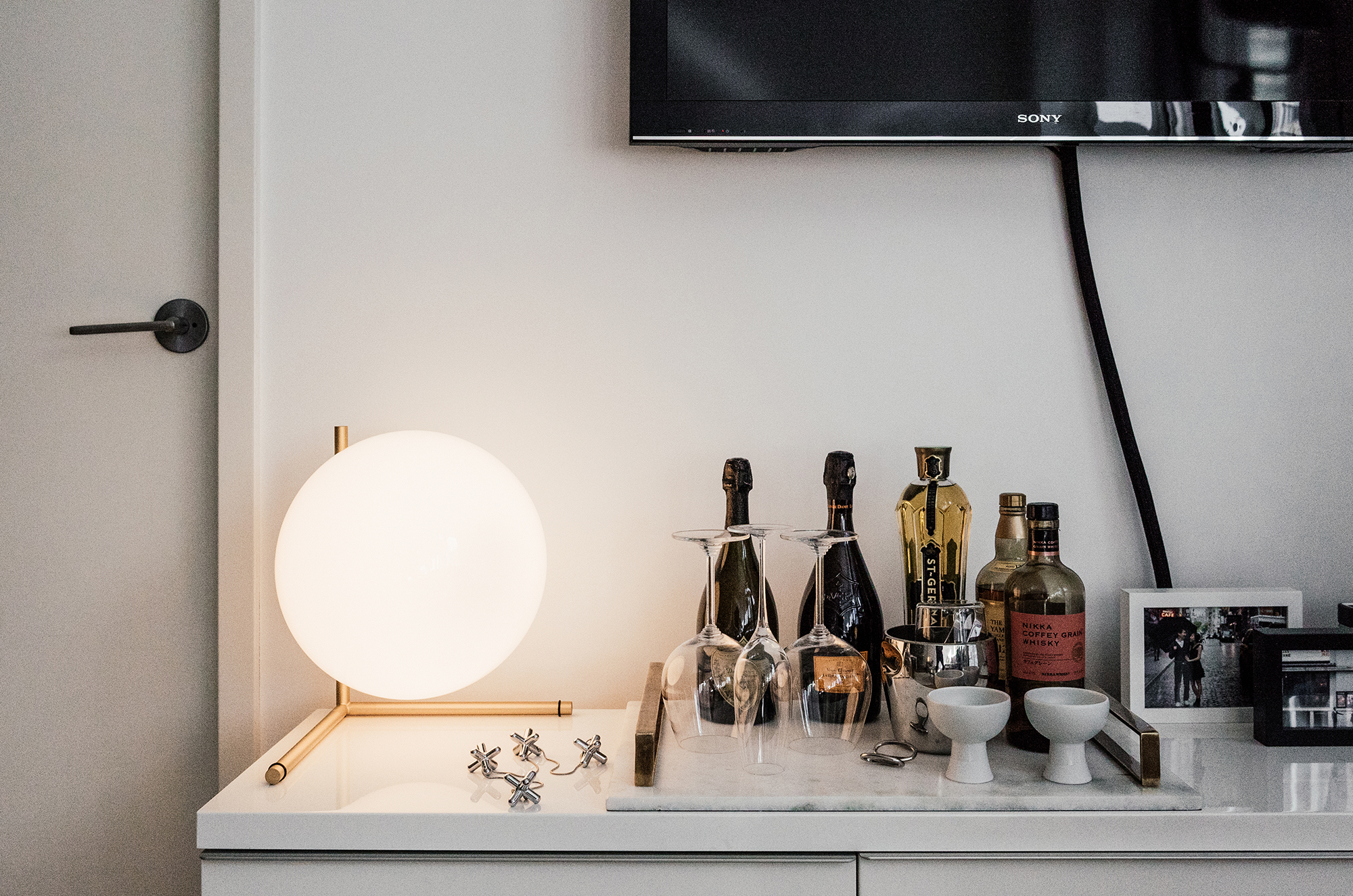 FLOS Table Lamp and Marble Tray from DwellStudio