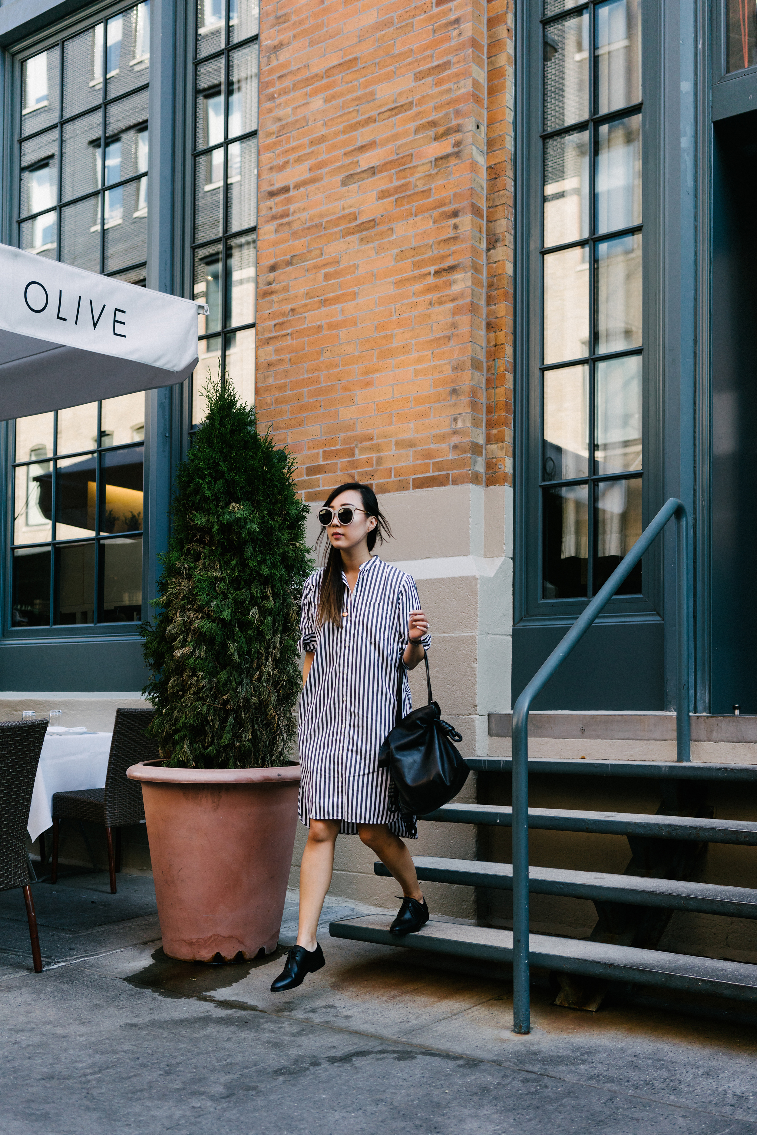 Everlane Dress  and  Oxfords ,  Loewe Bag