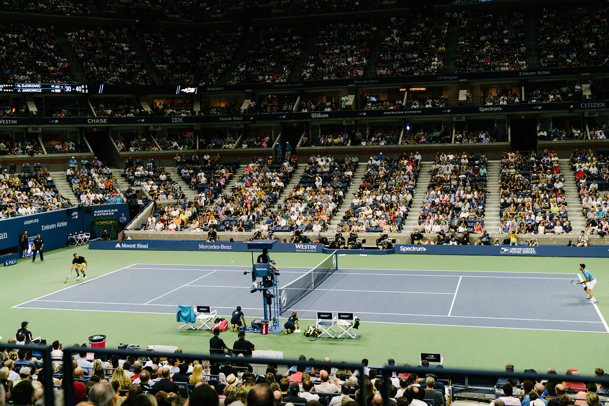 Djokovic and Janowicz on  US Open  Opening Night (Special thanks to  Grey Goose )