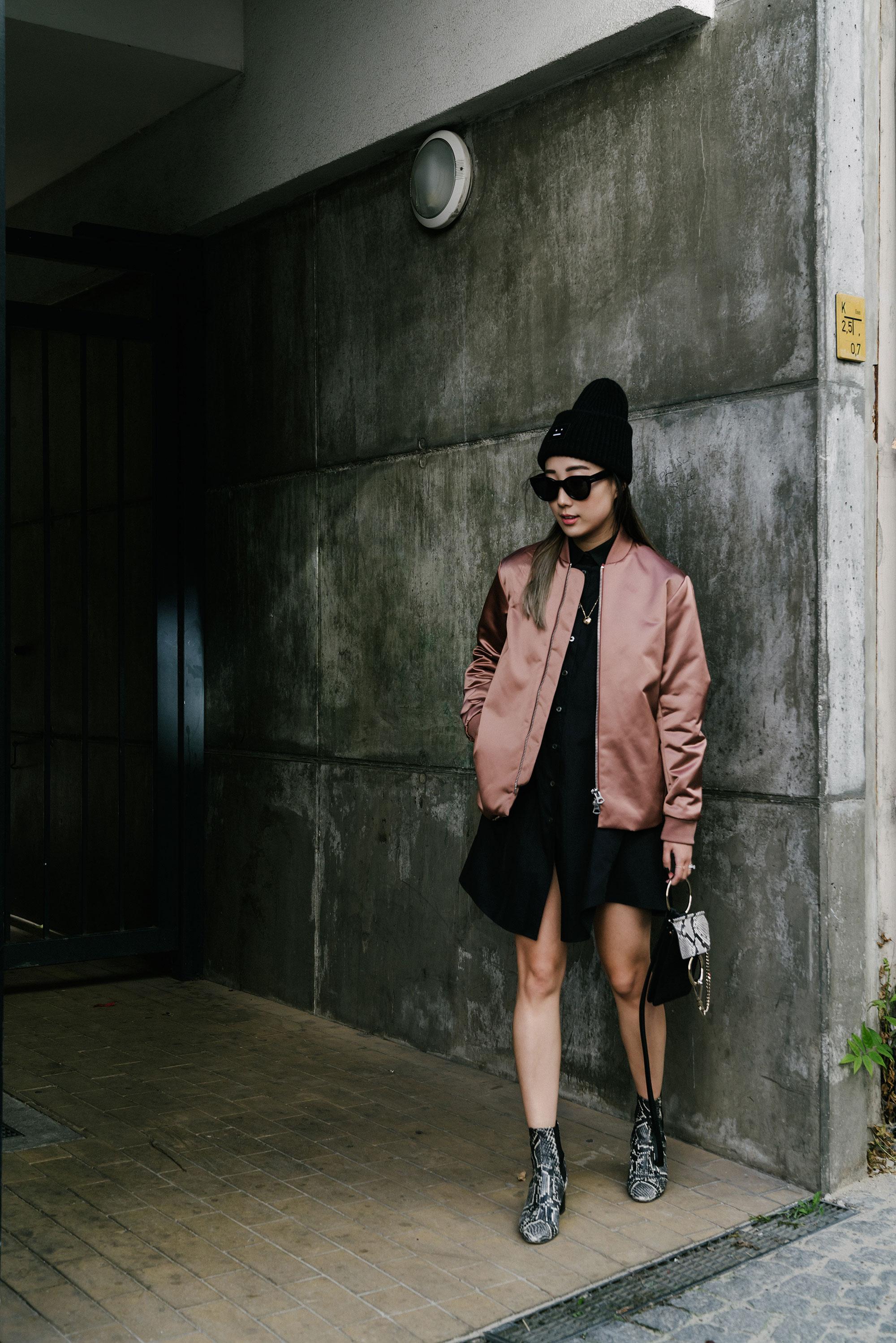 Acne Studios Jacket,  Jourden Dress ,  Chloé Bag ,  Isabel Marant Shoes ,  Acne Studios Beanie , Céline Sunglasses,  Cartier Necklace