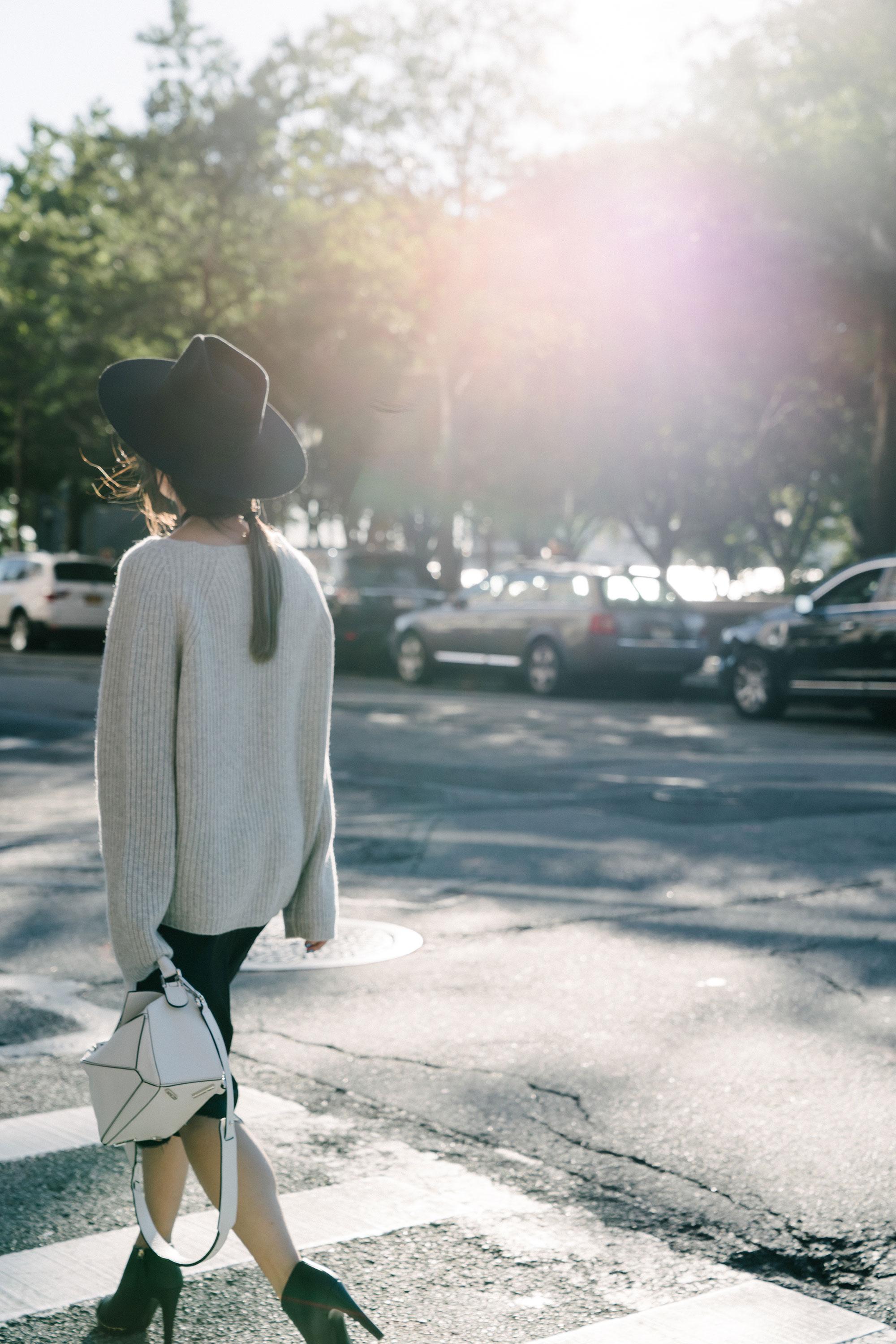 Nili Lotan Sweater  and  Slip Dress , Chanel Shoes,  Loewe Bag ,  Janessa Leone Hat