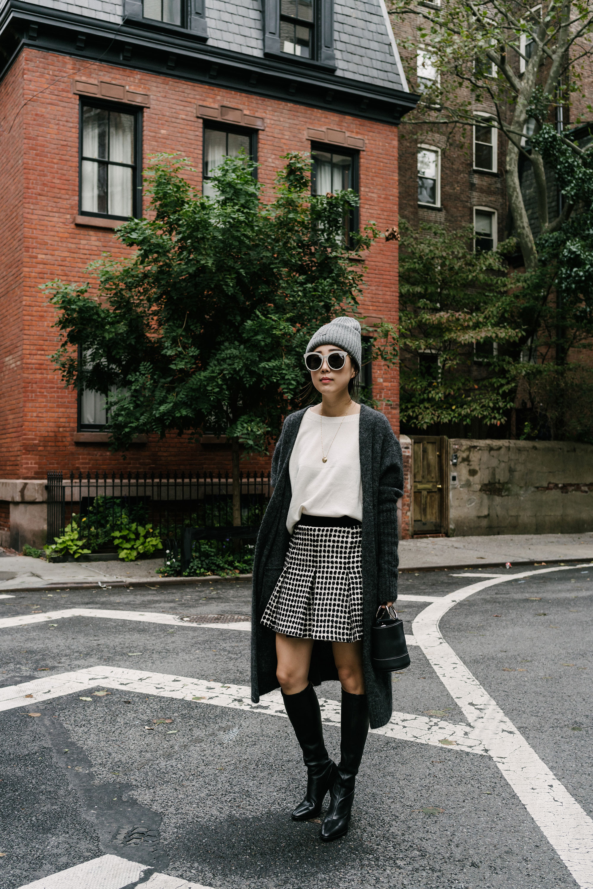 Acne Studios Cardigan  and  Hat ,  Vince Top , Proenza Schouler Skirt, Balenciaga Boots, Simon Miller Bag, Gentle Monster Sunglasses