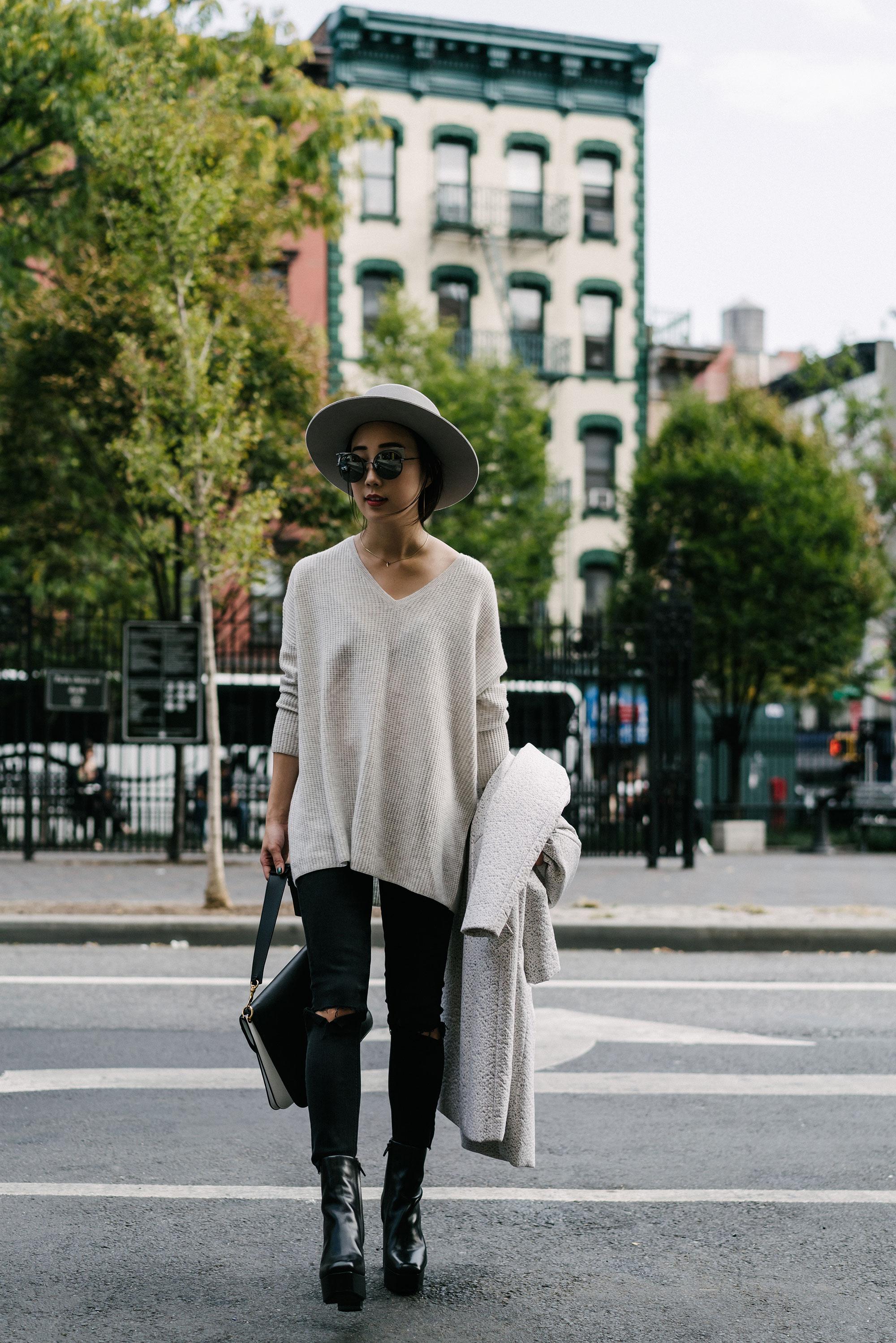 02nd Coat,  COS Top ,  Grlfrnd Denim ,  Alexander Wang Boots , J.W.Anderson Bag, Janessa Leone Hat, Fendi Sunglasses ( White )