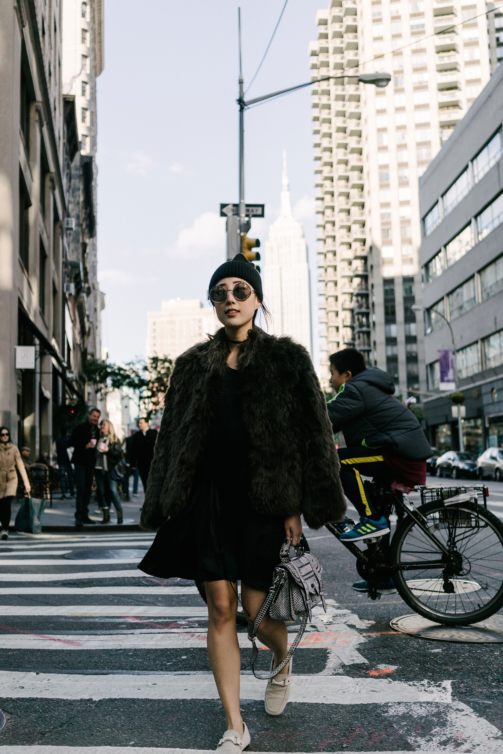 Helmut Lang Coat , McQ Dress,  Isabel Marant Shoes ,  Proenza Schouler Bag , Stella McCartney Beanie, Cutler and Gross Sunglasses