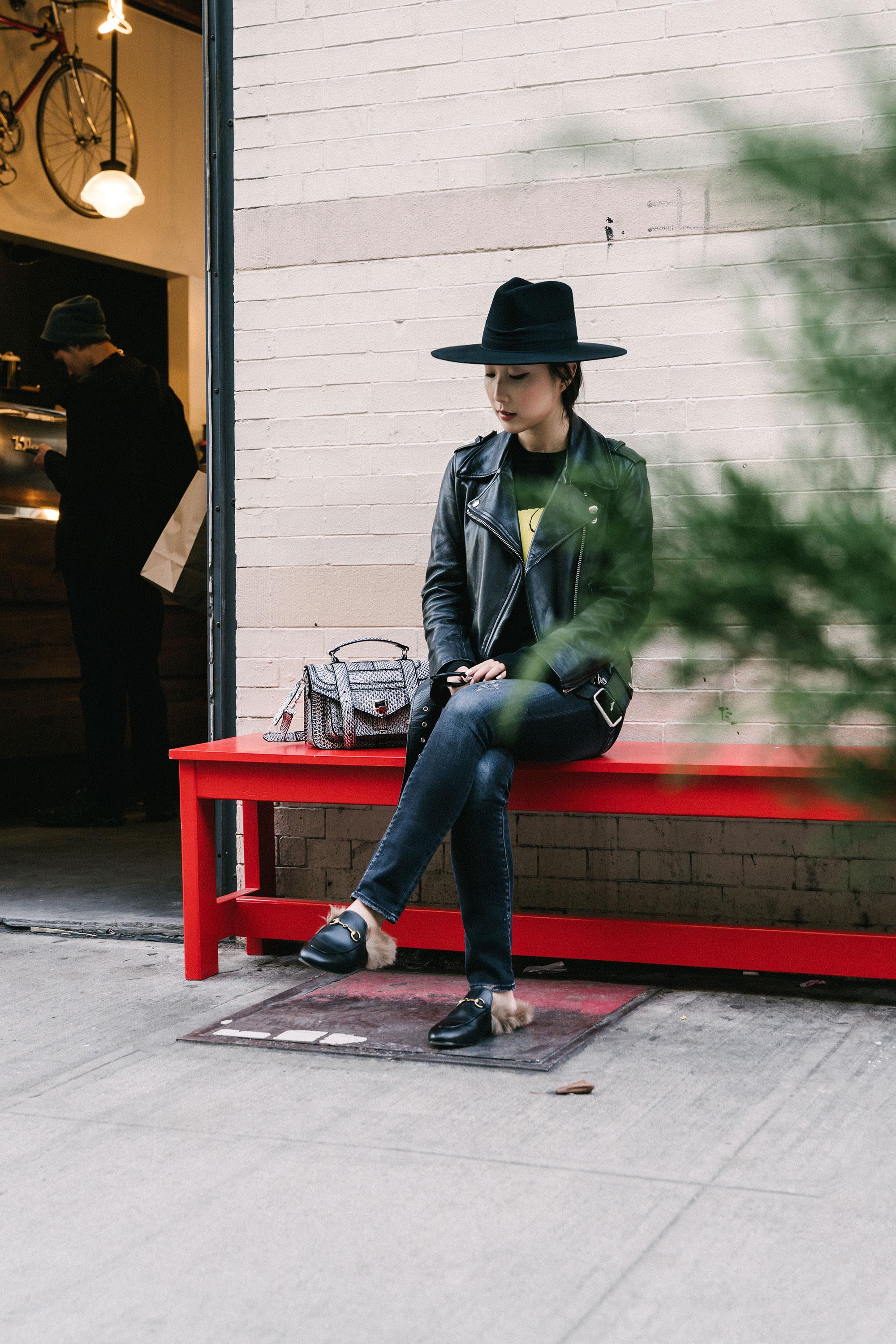 Acne Studios Jacket ,  Loewe Top ,  R13 Denim ,  Gucci Loafers , Proenza Bag,  Janessa Leone Hat