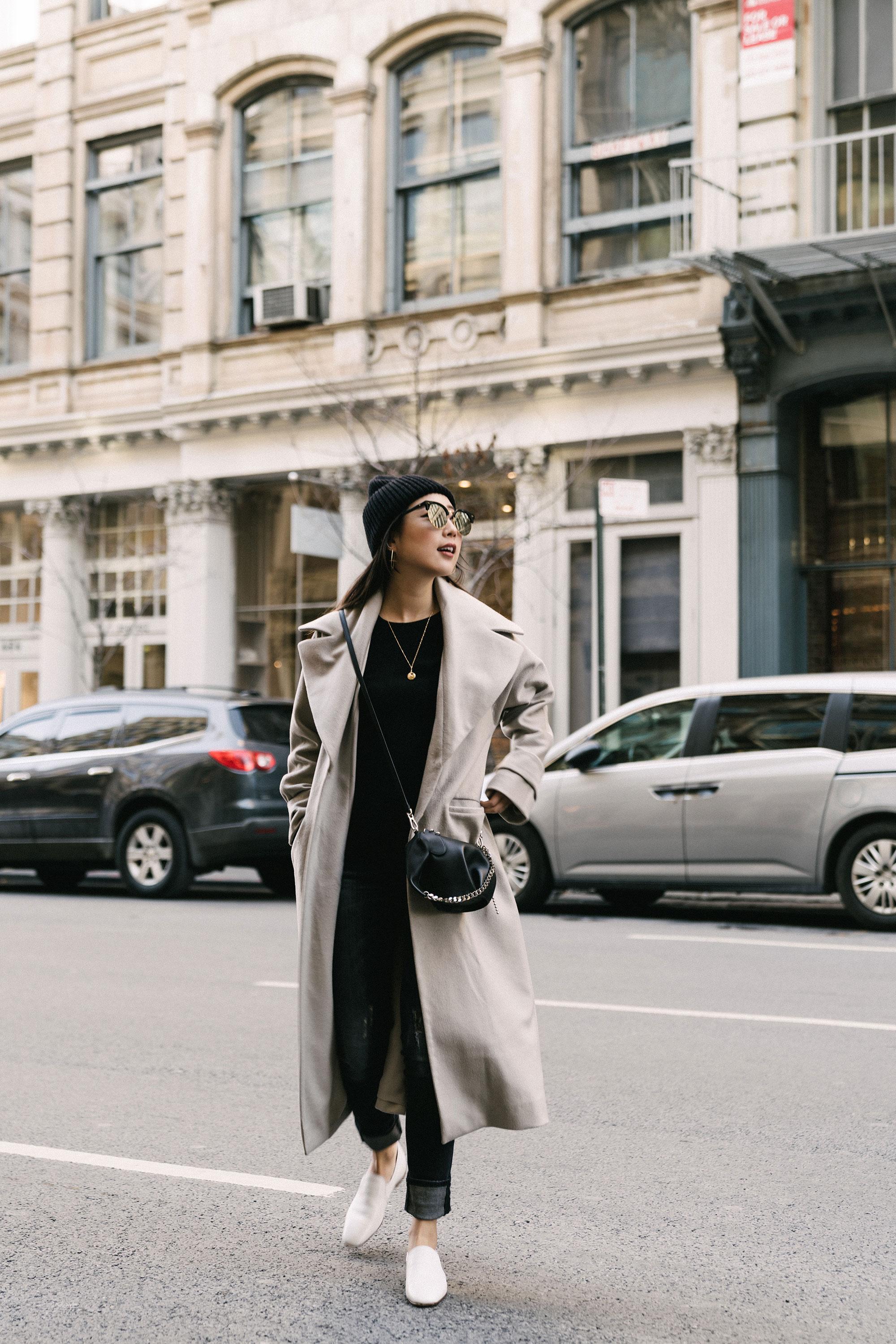 Michelle Waugh Coat ,  Vince Top ,  R13 Denim ,  The Row Shoes ,  Loewe Bag ,  Cartier Necklace