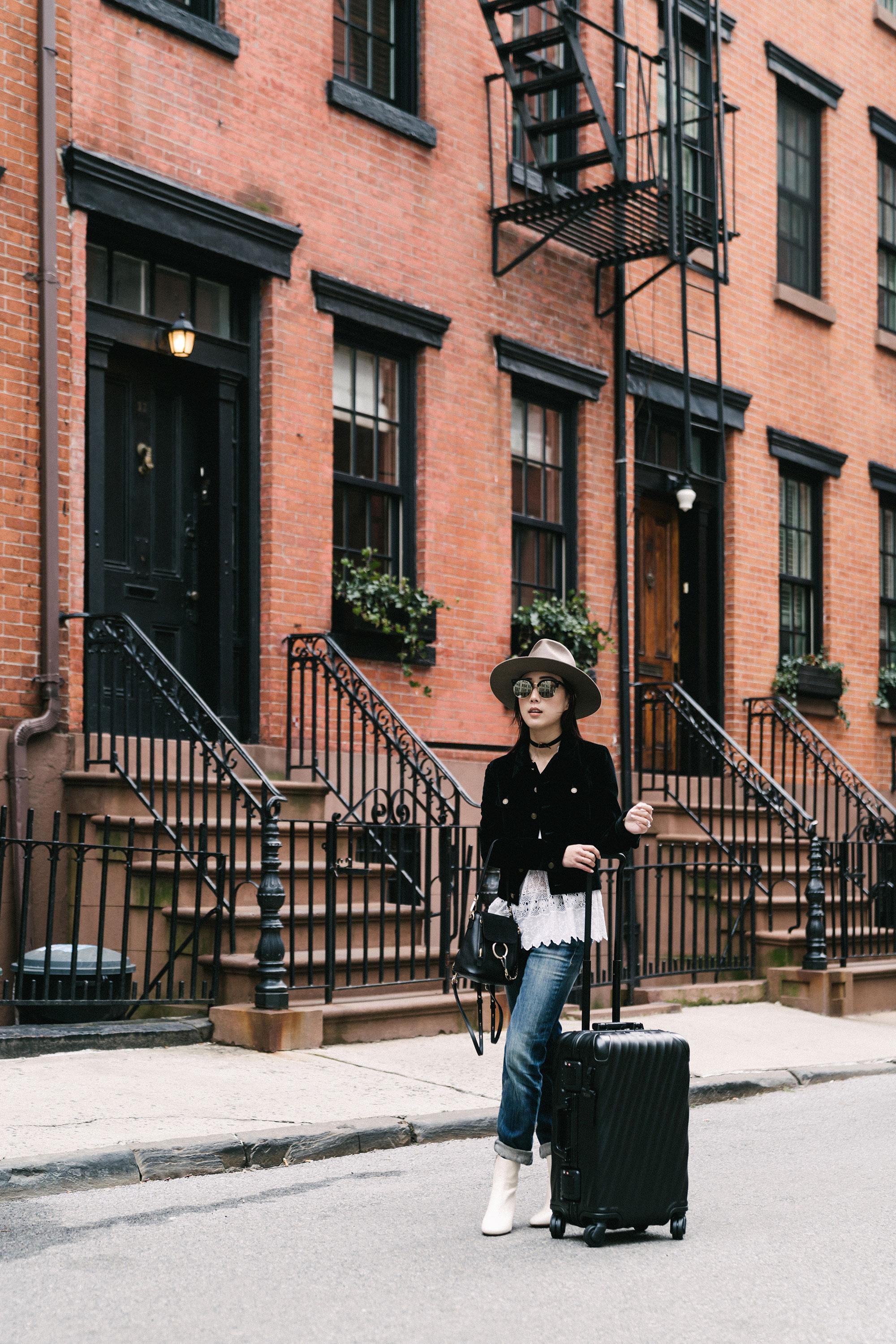 Saint Laurent Jacket, Ulla Johnson Top,  R13 Denim , Isabel Marant Boots,  Janessa Leone Hat , Gentle Monster Sunglasses, Chloe Bag,  TUMI Luggage