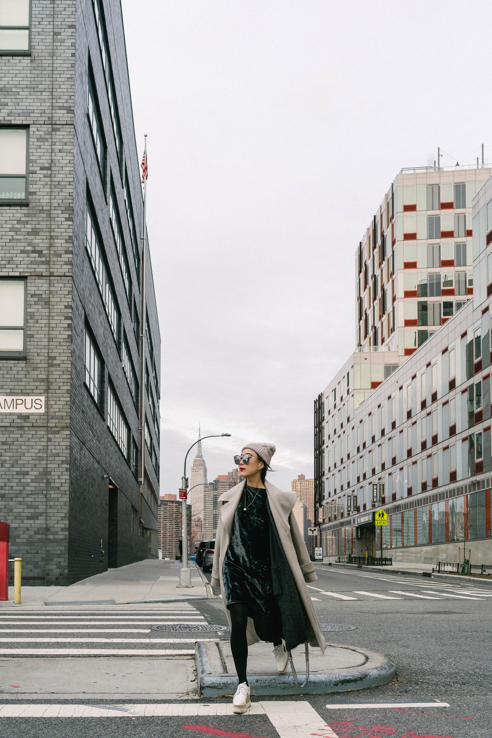 Michelle Waugh Coat , Acne Studios Dress, Stella McCartney Shoes, Proenza Schouler Bag, & Other Stories Beanie,  Cartier Necklace