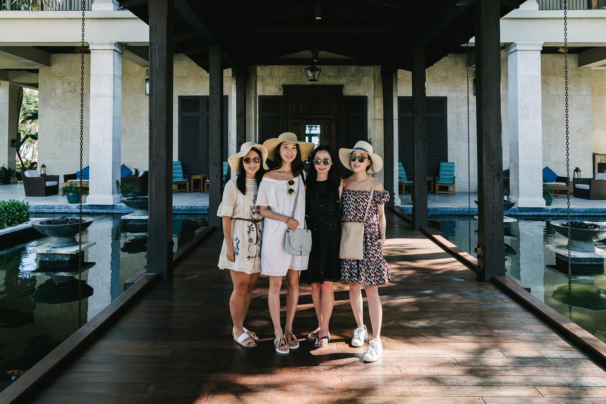 Fran ,  Yujin ,  Julie , and  I   Wearing  Philosophy di Lorenzo Serafini Dress ,  A.L.C. Bag , adidas Shoes