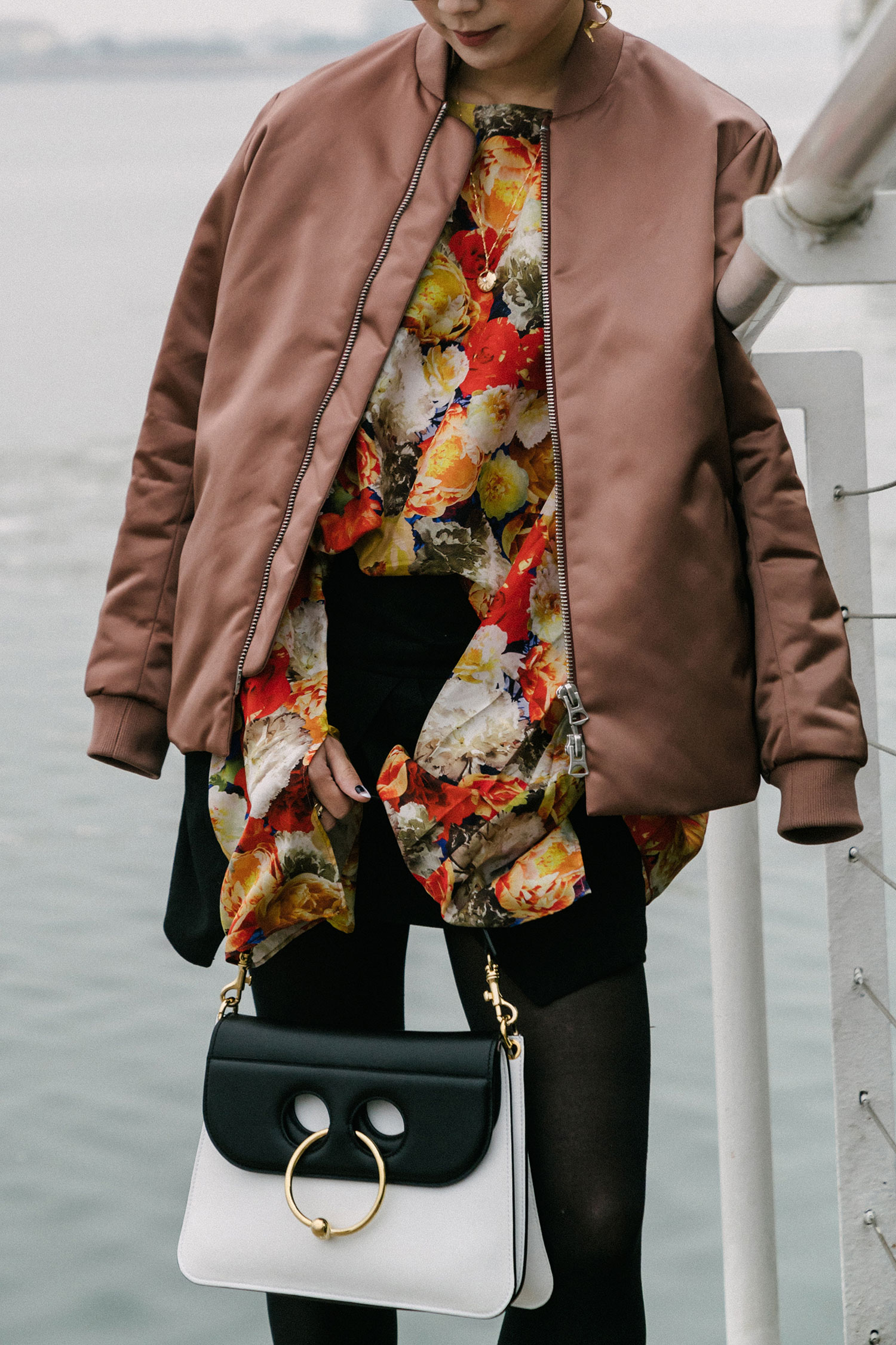 Acne Studios Jacket and  Top , Isabel Marant Skirt,  Vince Shoes ,  J.W. Anderson Bag  and Earring, Celine Sunglasses