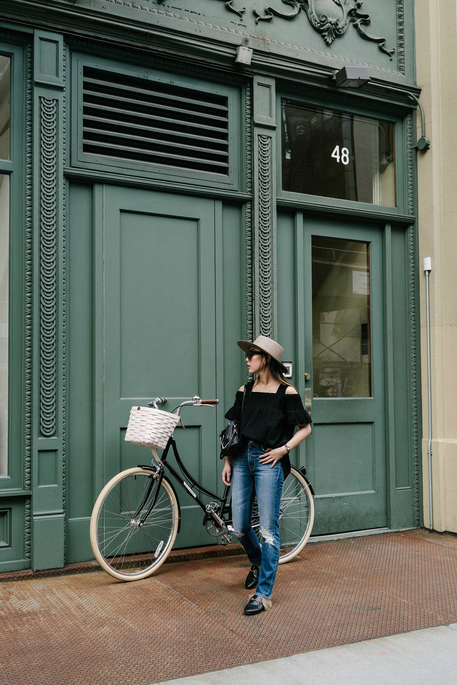 Dries Van Noten Top ,  Mother Denim ,  Gucci Shoes ,  Papillionaire Bicycles