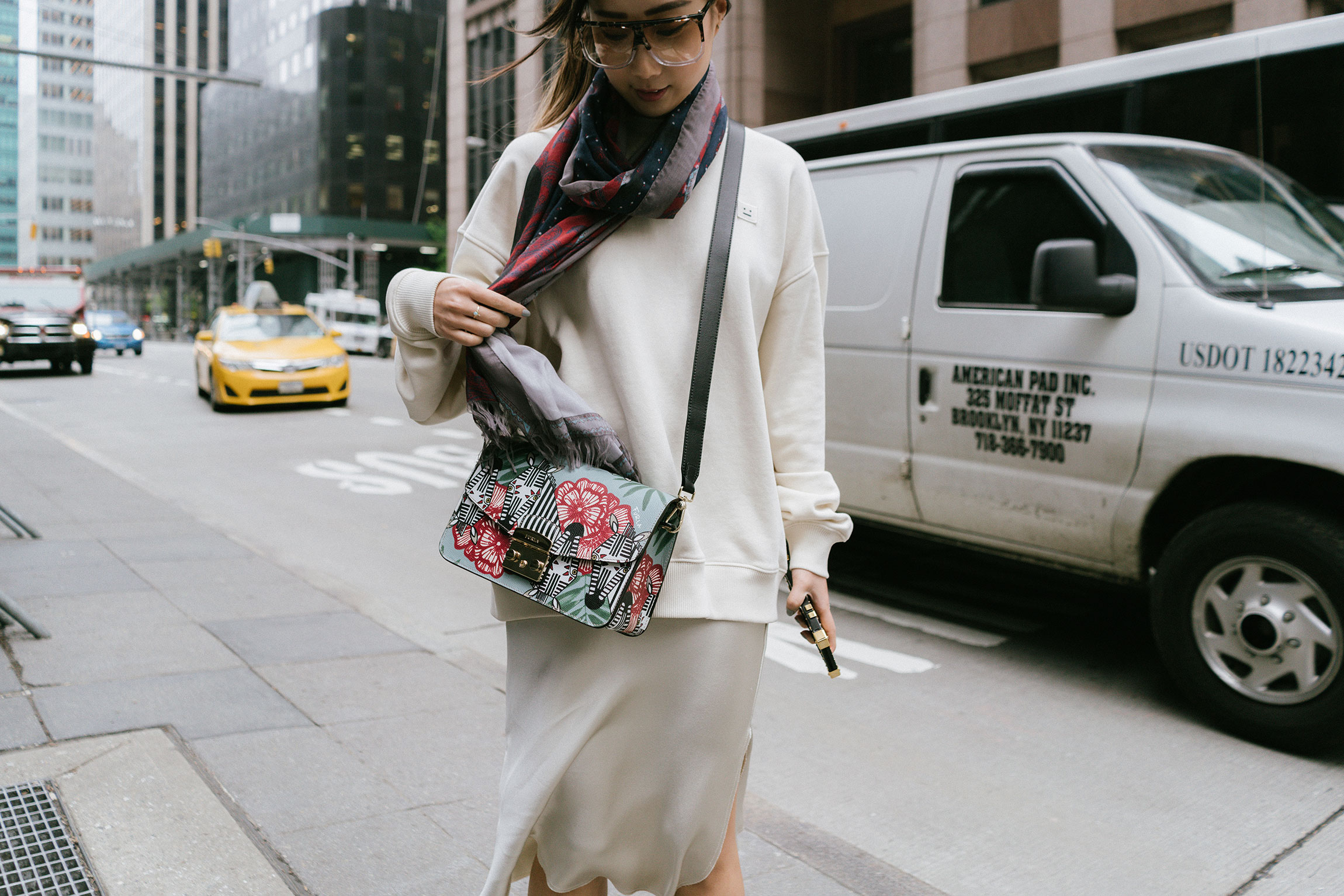 Acne Studios Sweatshirt  and  Scarf ,  Nili Lotan Skirt ,  Furla Bag , Loewe Sunglasses