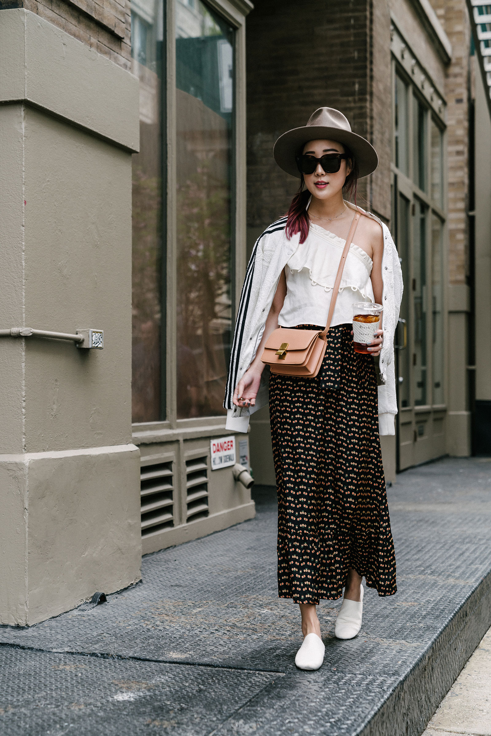 Adidas Jacket,  Apiece Apart Top ,  Sézane Skirt ,  Vince Shoes , Céline Bag and Sunglasses
