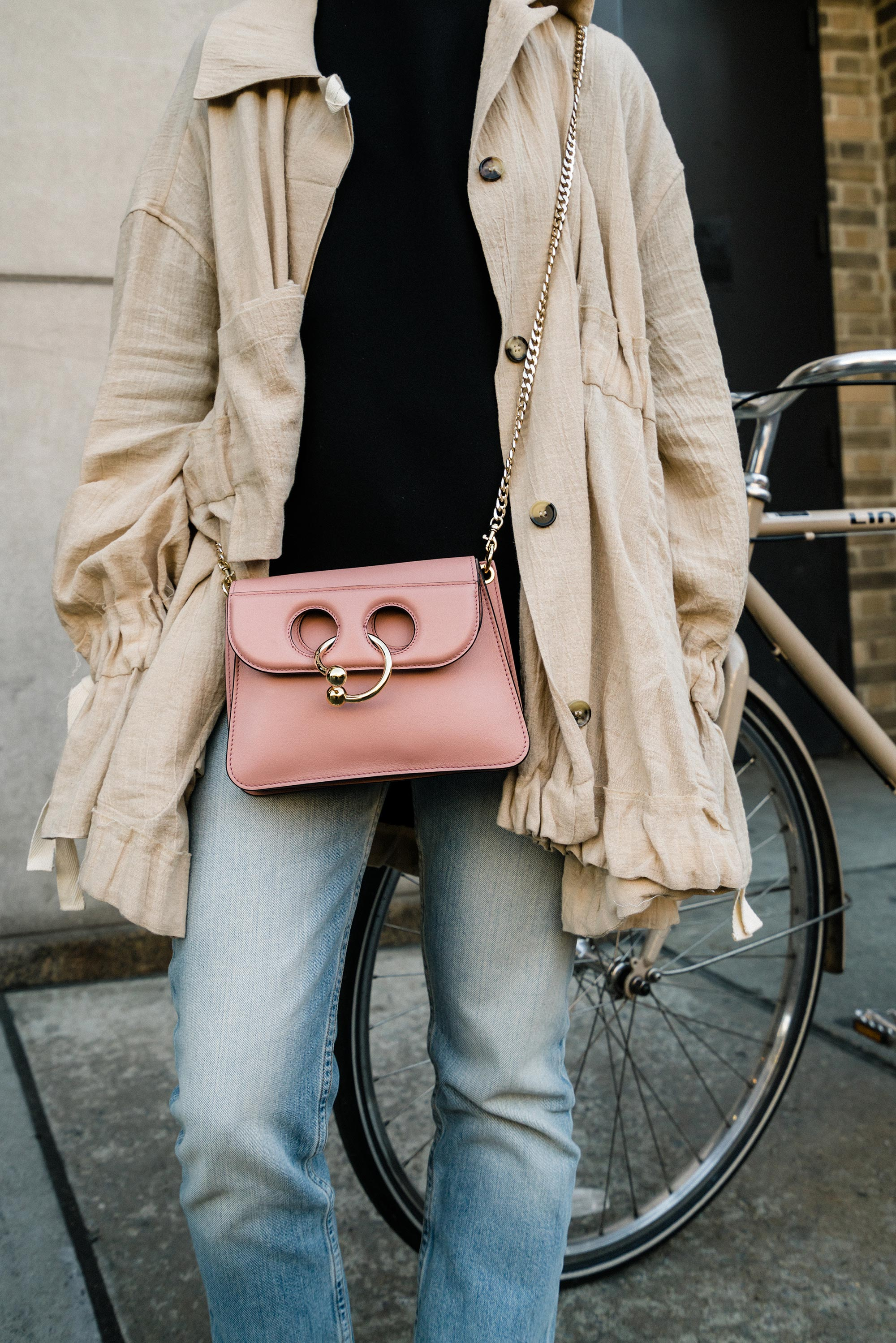 Loewe Jacket, COS Top,  The Row Denim ,  J.W.Anderson Bag