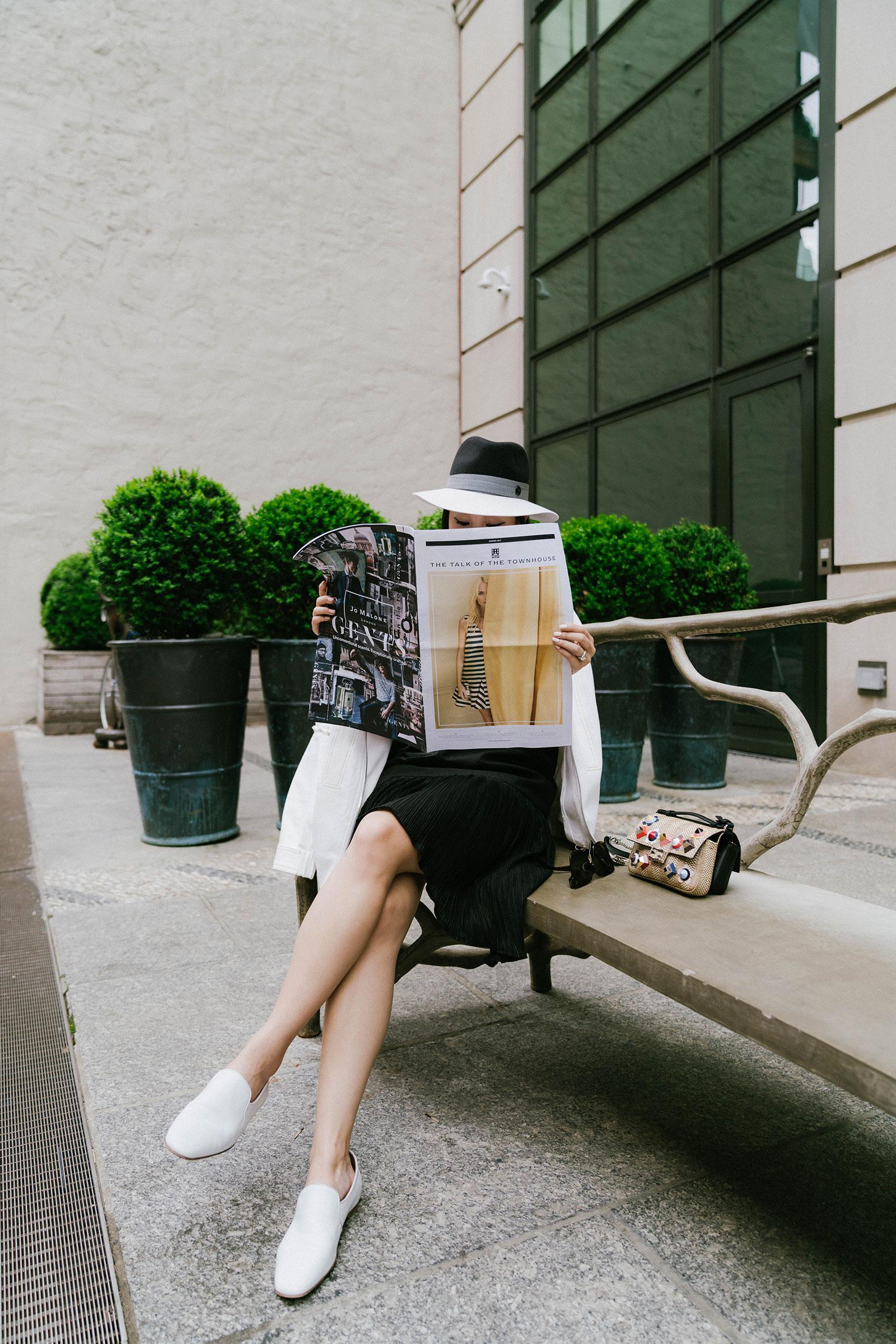 Lie Collection Jacket ,  Lie Collection Dress ,  The Row Shoes ,  Fendi Bag ,  Maison Michel Hat
