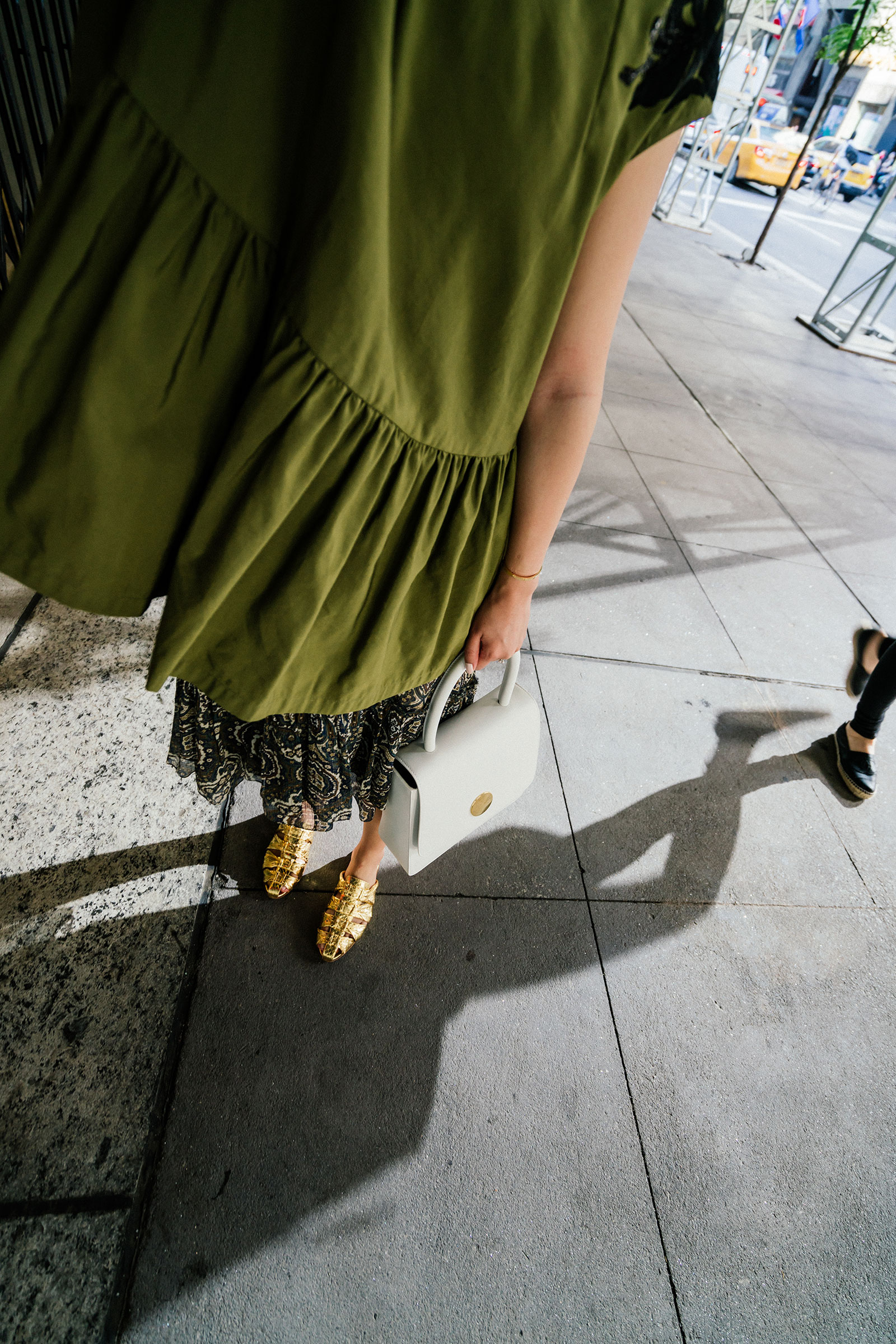 Dries Van Noten Top , Chloé Skirt,  The Row Shoes ,  Mansur Gavriel Bag