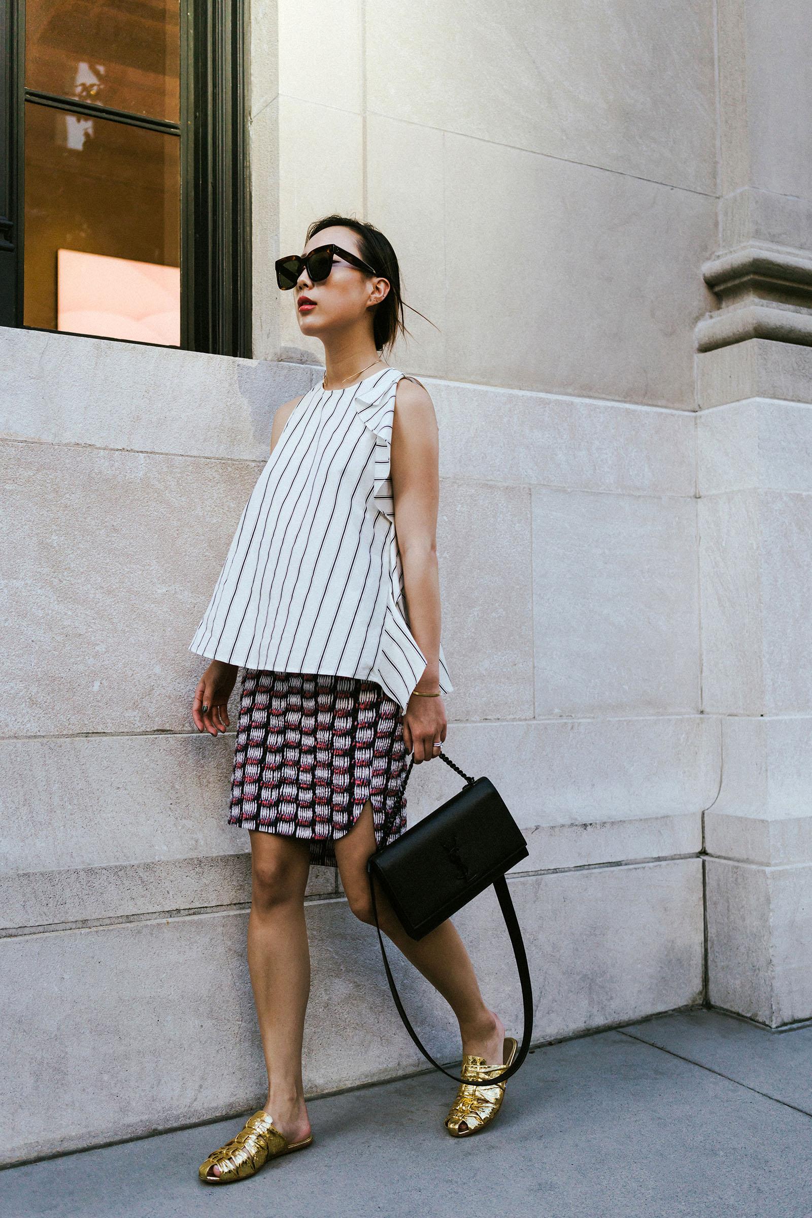 Yune Ho Top, COS Skirt,  The Row Shoes , Saint Laurent Bag, Céline Sunglasses