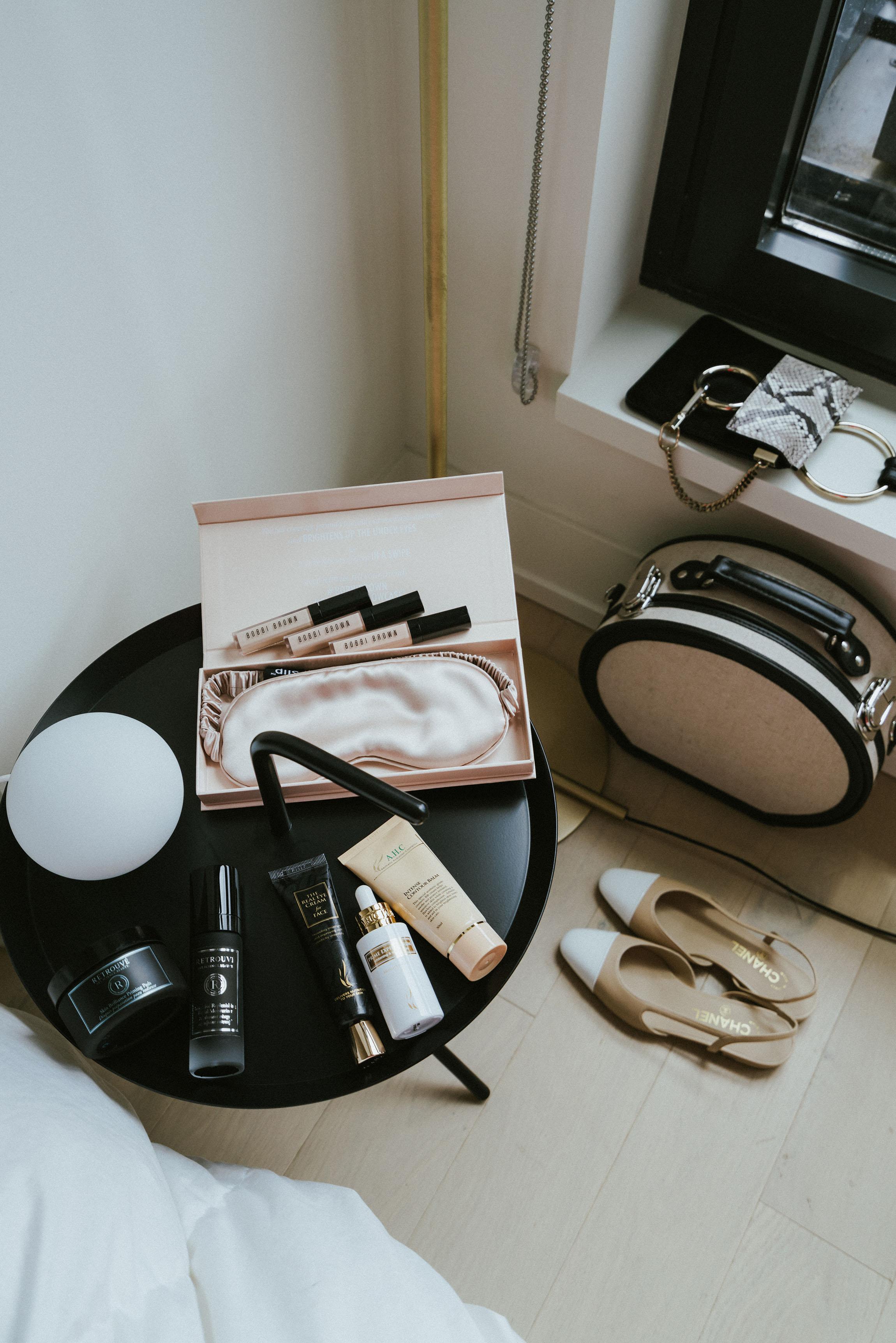 Retrouvé Skincare , A.H.C. Skincare,  Bobbi Brown Concealer ,  Slip Eye Mask , Chanel Sandals,  Steamline Luggage , Chloé Bag