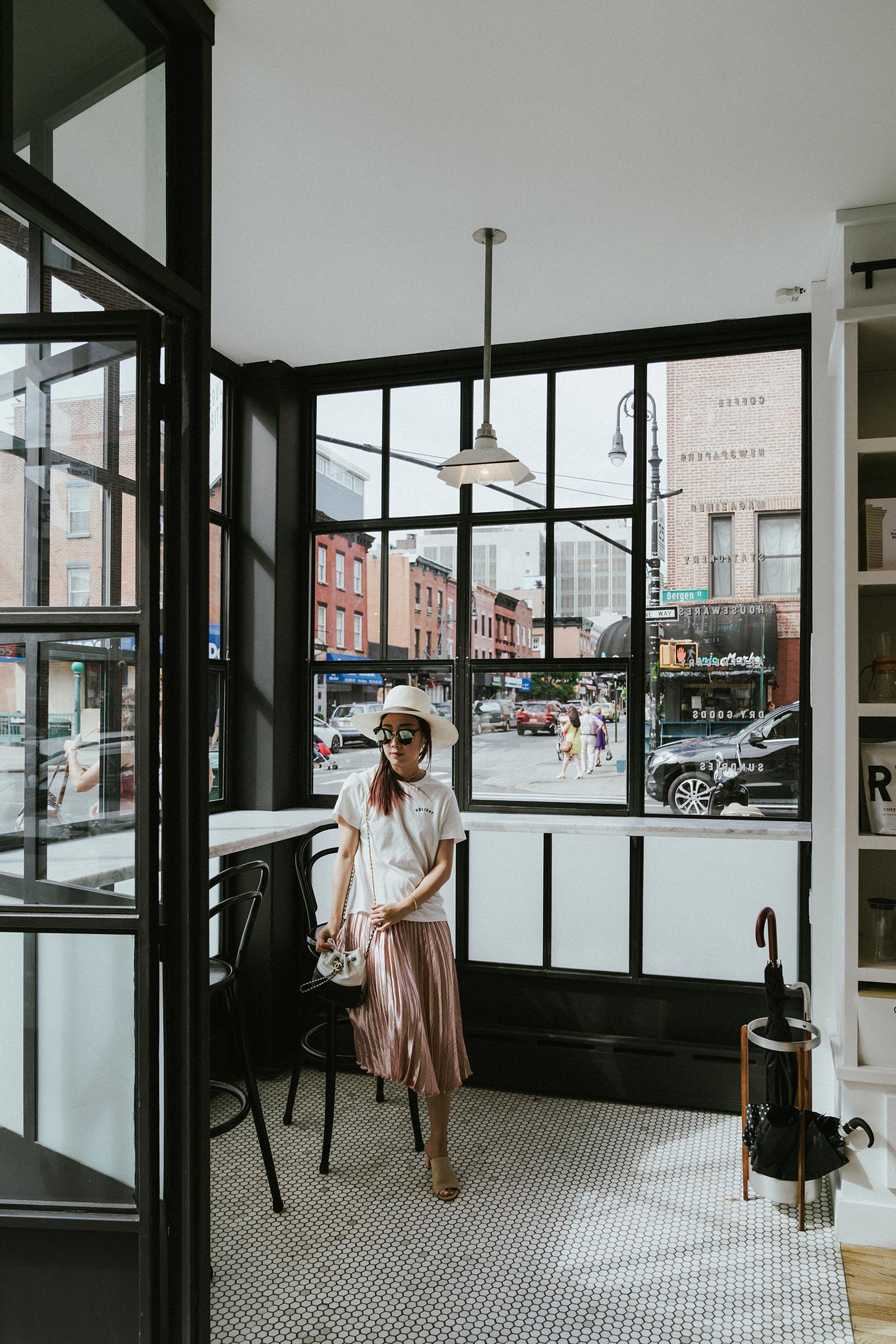 Sezane Top ,  Petite Studio Skirt , Chanel Bag
