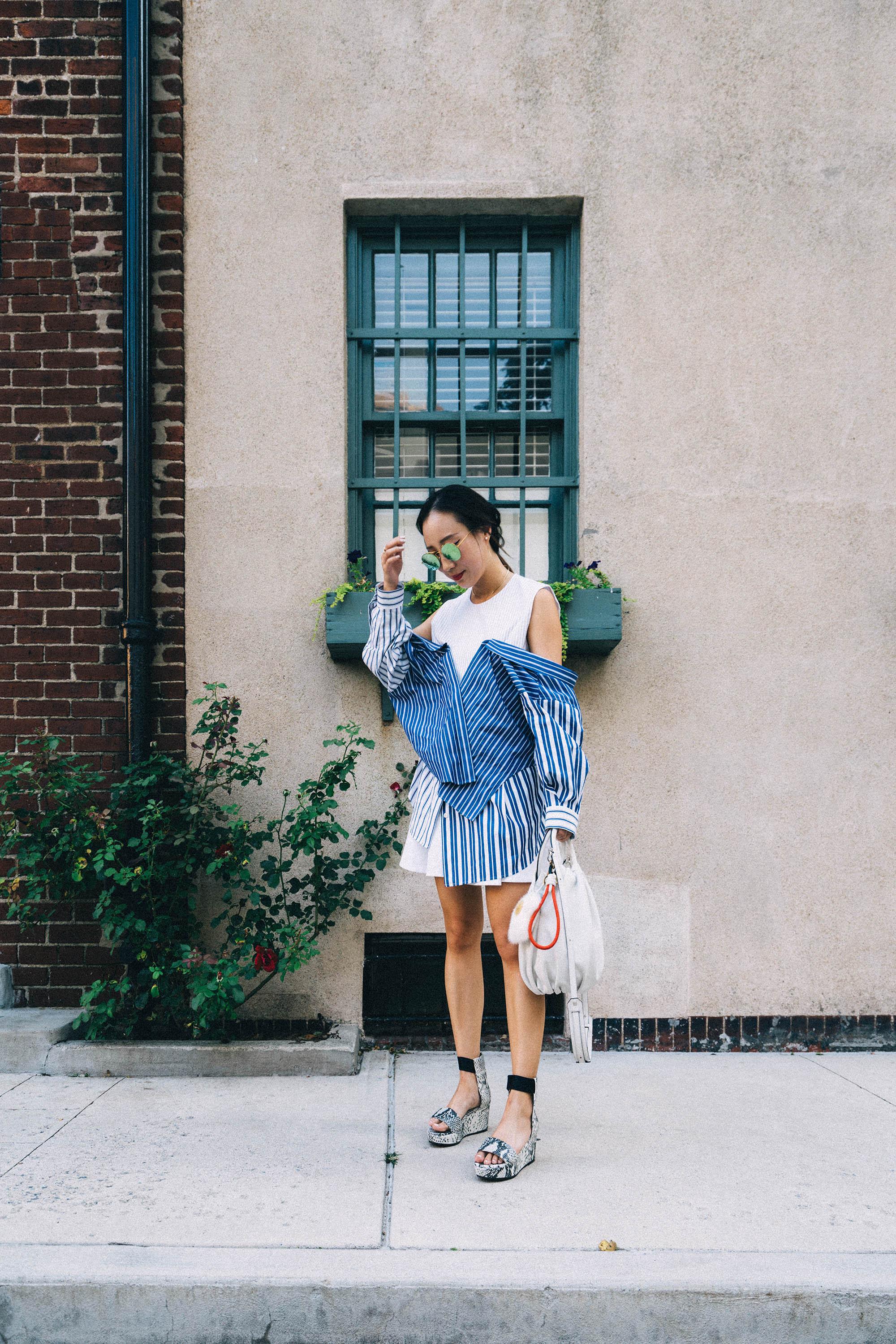 Enfold Top, COS Skirt,  Seven All Around Sandals , Loewe Bag