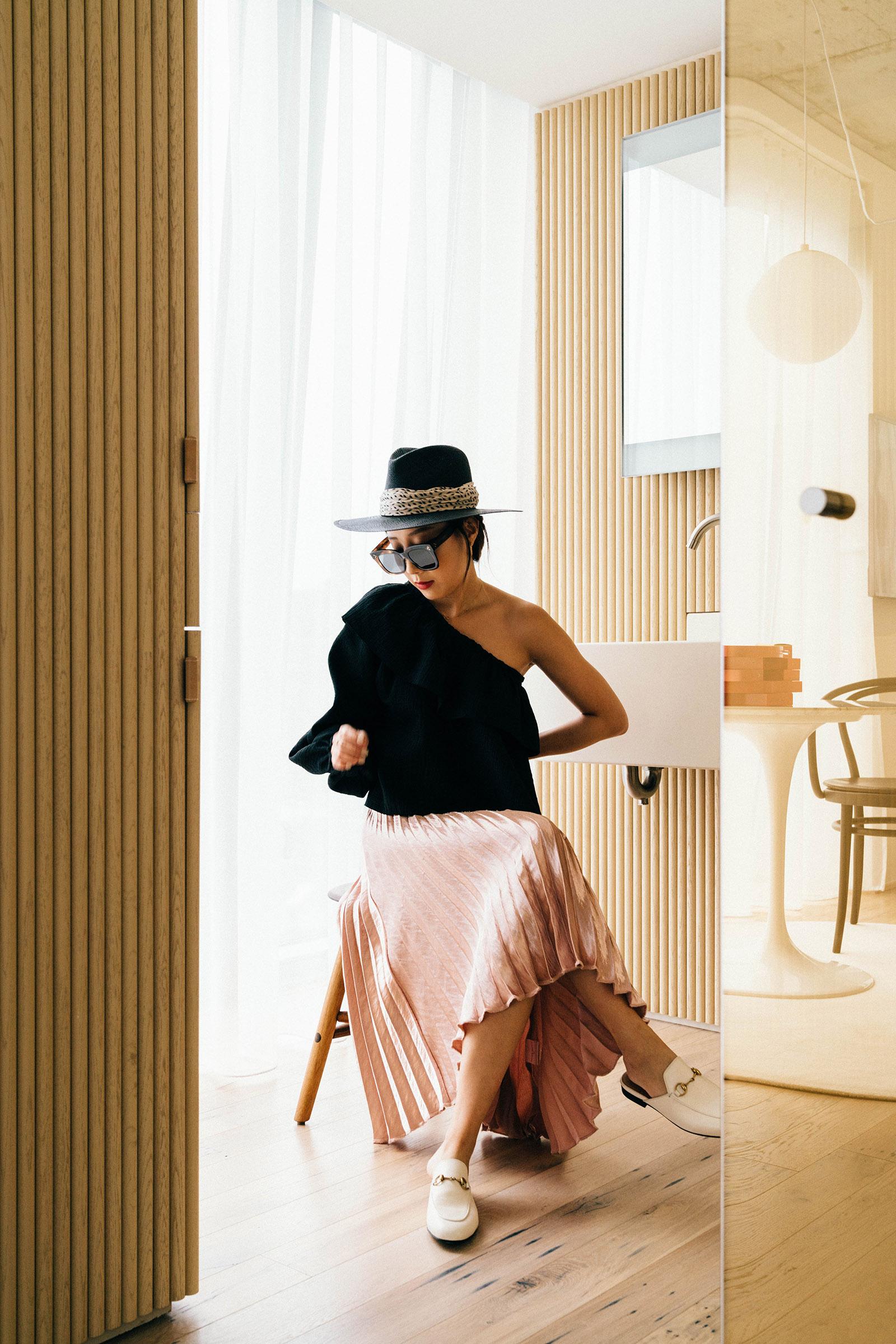 Rachel Comey Top ,  Petite Studio Skirt ,  Gucci Shoes ,  Janessa Leone Hat