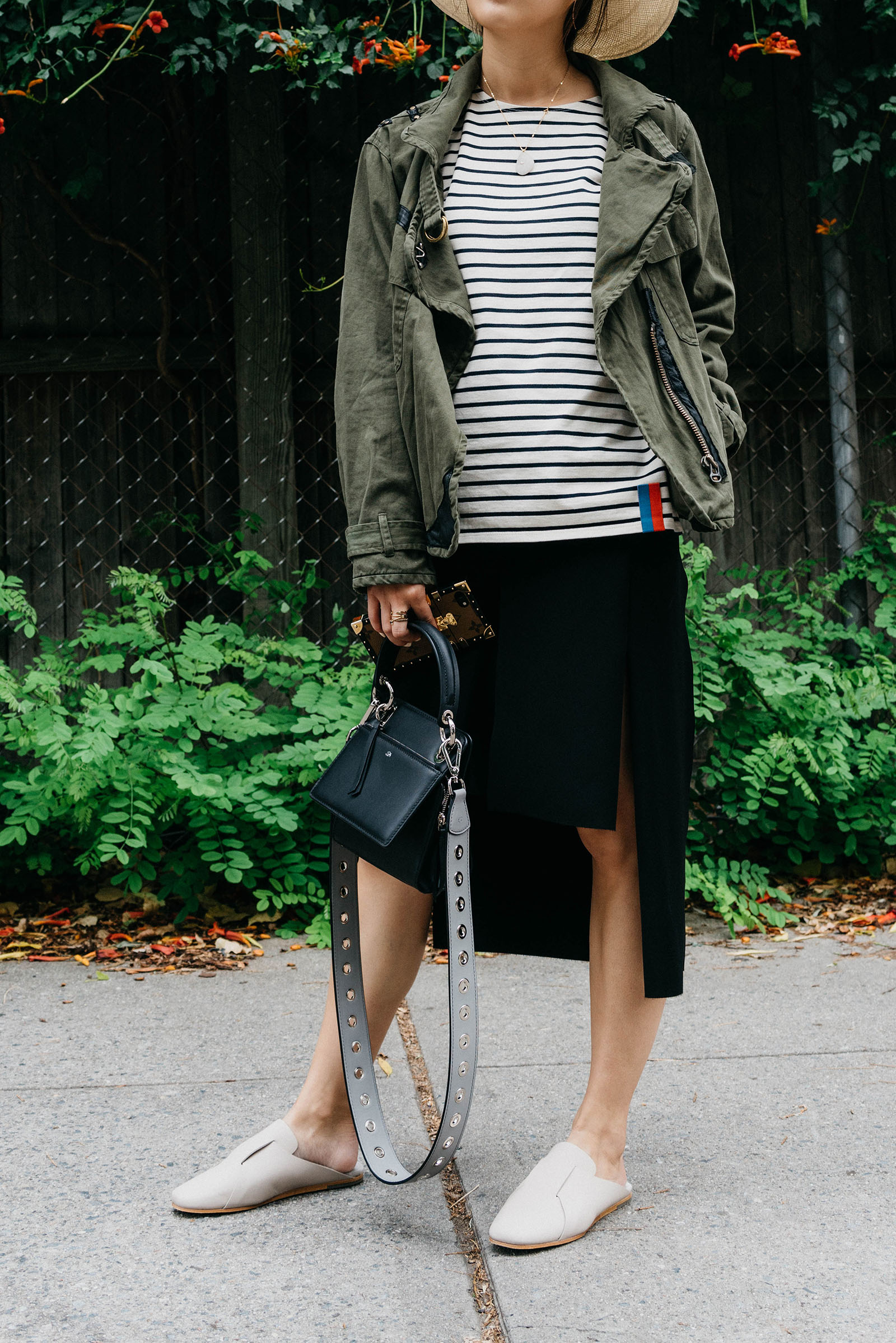 NSF Jacket ,  Kule Stripes Top , COS Skirt and Shoes,  324 New York Bag  and  Strap