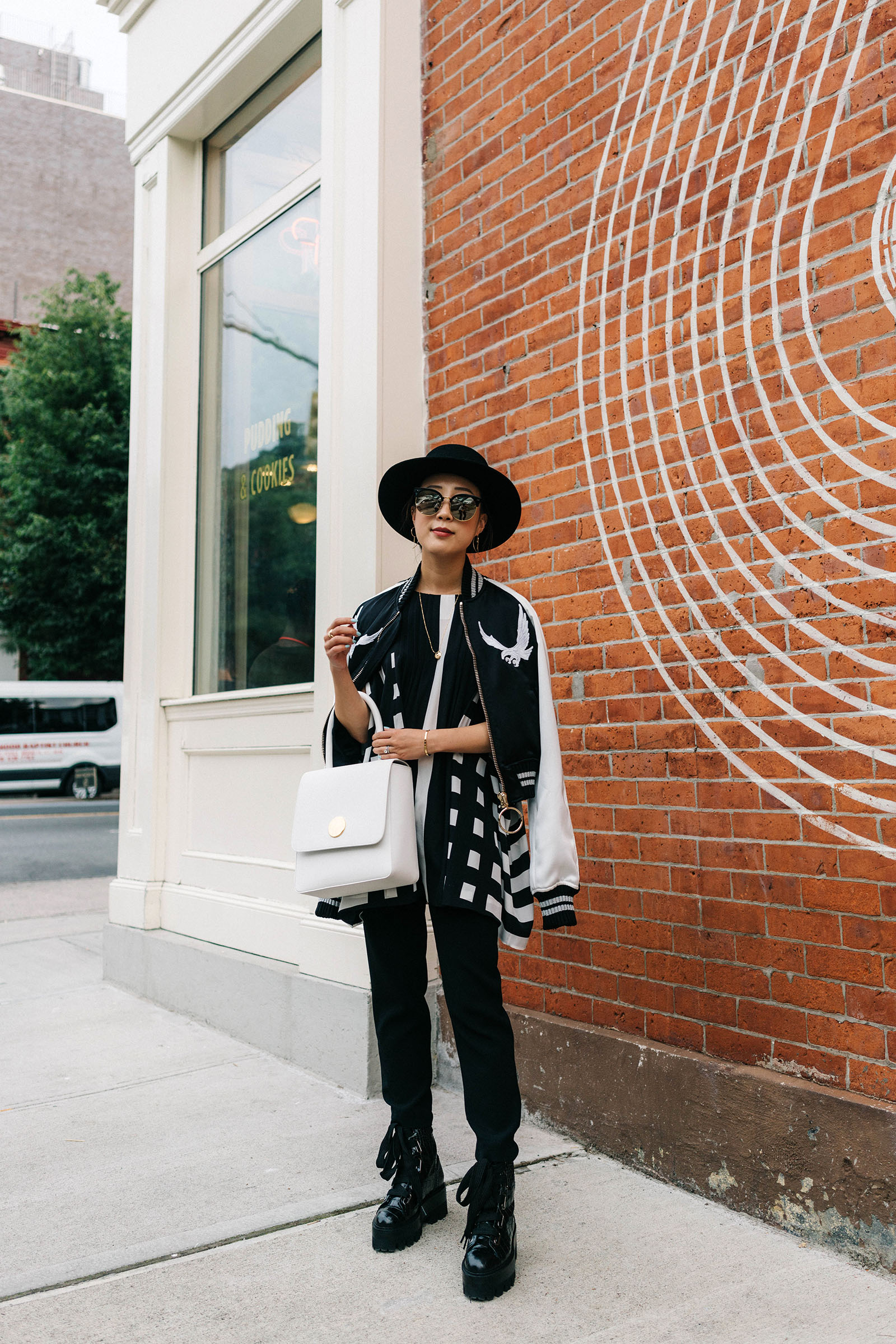 Off-White Jacket,  Marimekko Top , Aritzia Pants, Ellery Shoes,  Mansur Gavriel Bag ,  Gentle Monster Sunnies ,  Cartier Necklace