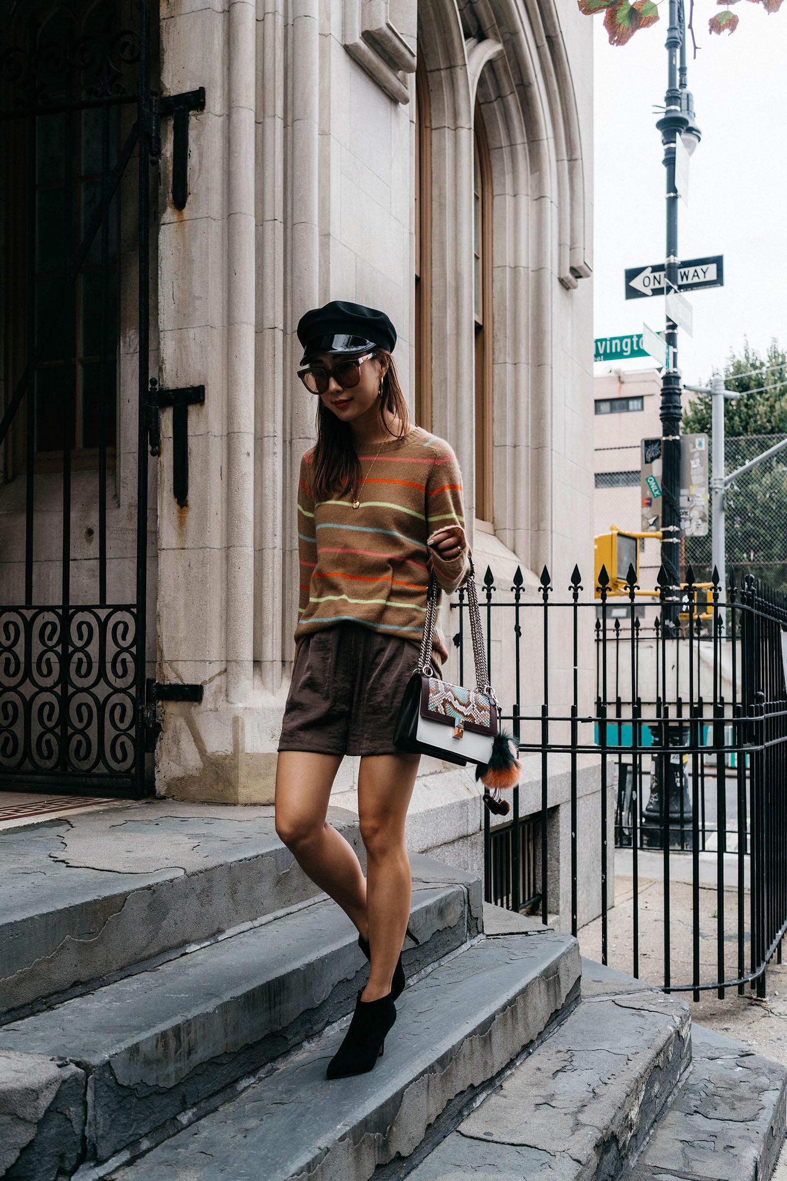 Sies Marjan Sweater, H&M Shorts,  Yvonne Kone Boots ,  Fendi Bag  and  Keychain ,  Gentle Monster Sunglasses