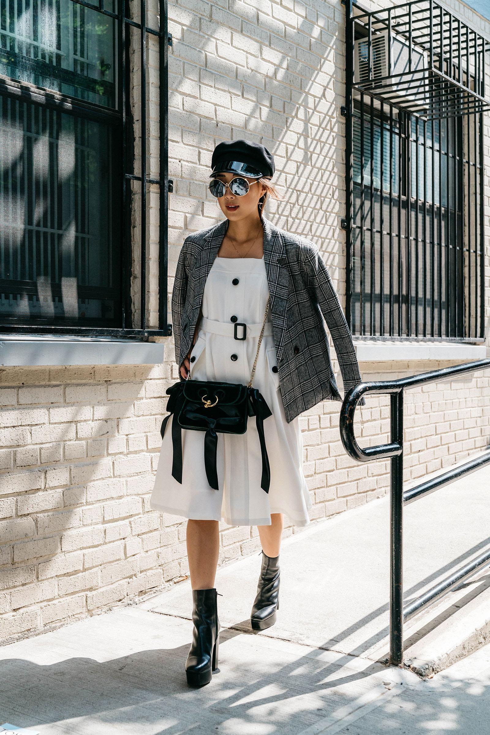 Petite Studio Jacket  and  Dress ,  J.W. Anderson Bag , Alexander Wang Boots,  Altuzarra Sunglasses