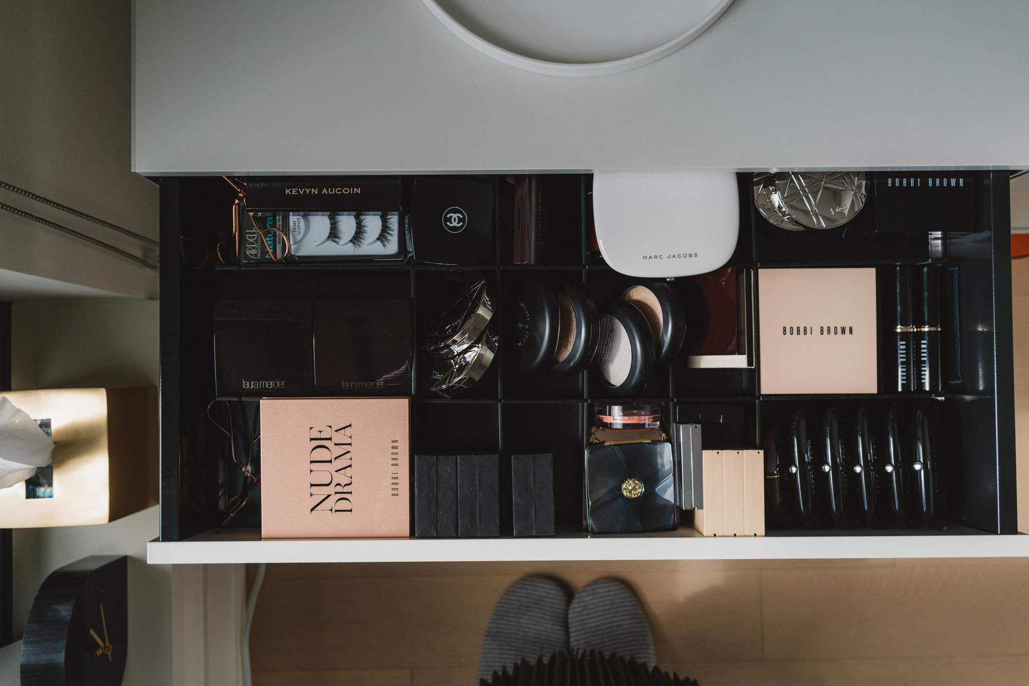 Drawer of powder essentials